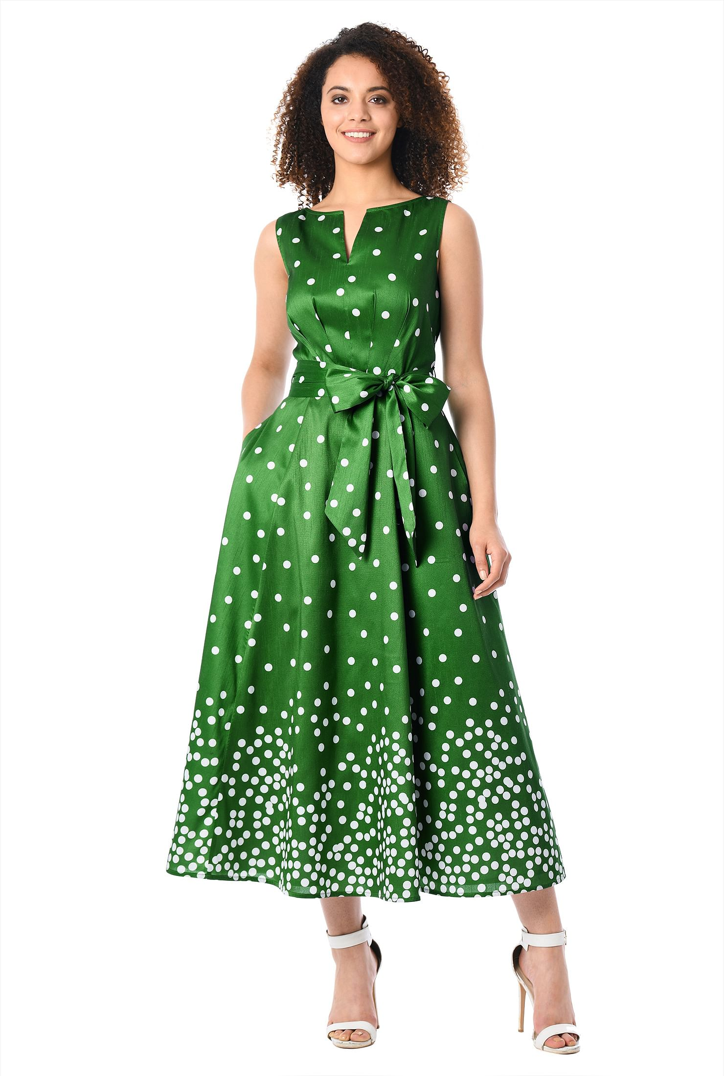 eShakti Women's Polka dot print dupioni midi dress