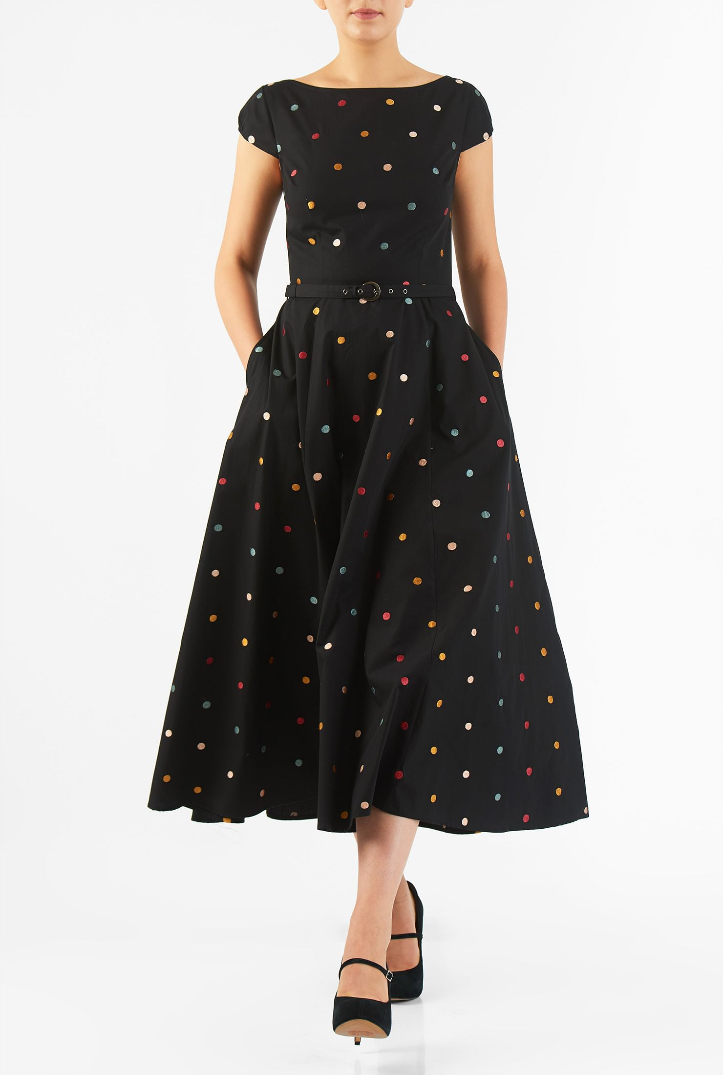 eShakti Women's Polka dot embellished poplin dress