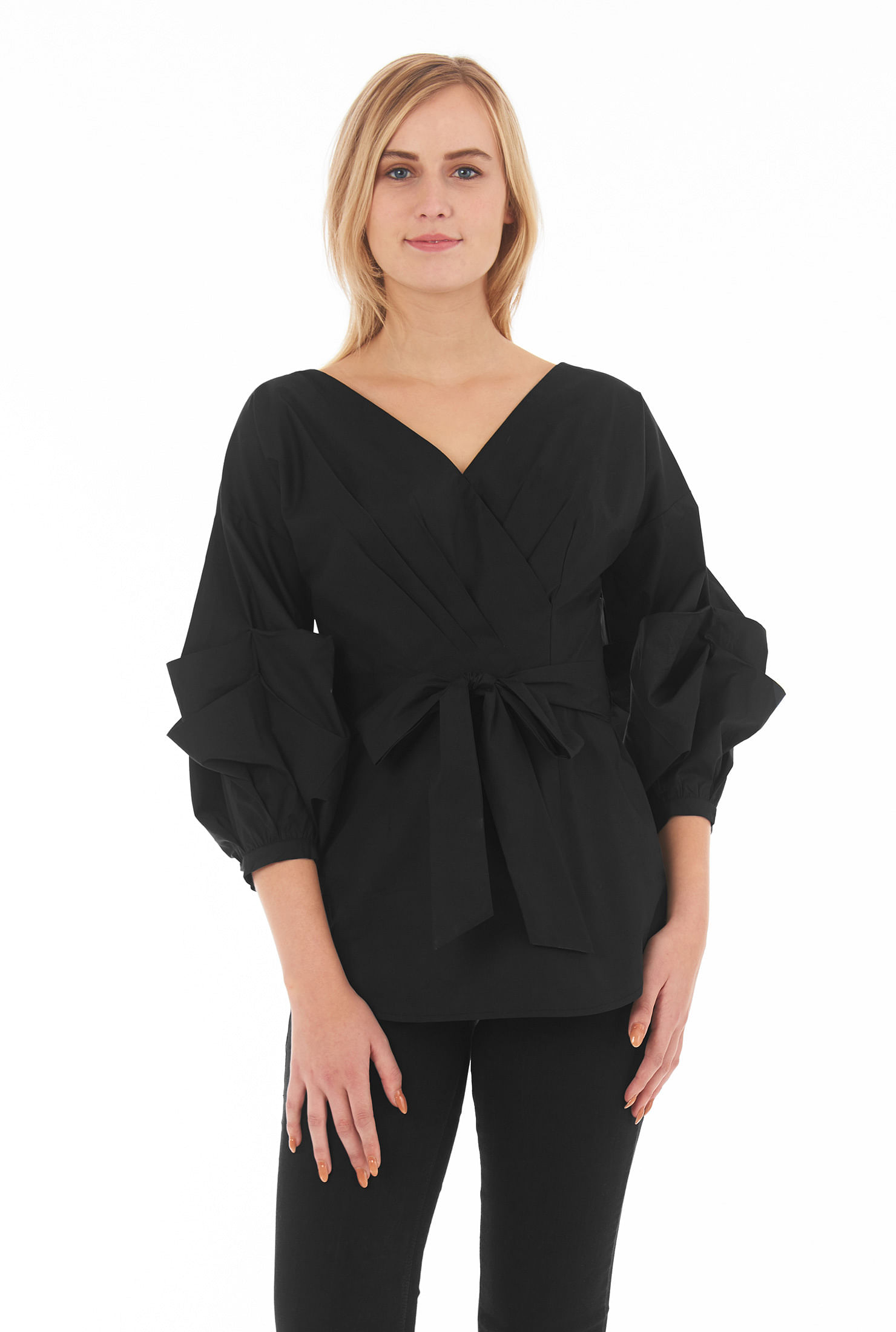 eShakti Women's Statement sleeve poplin top
