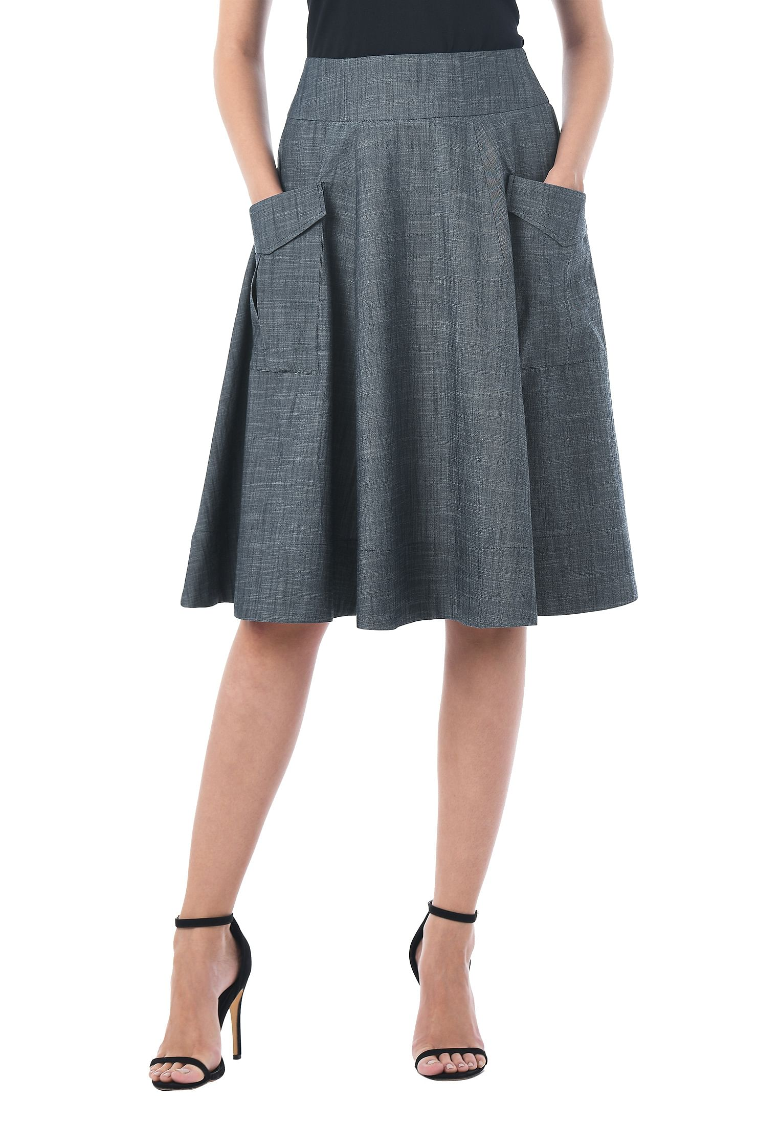 eShakti Women's Cargo pocket cotton chambray skirt
