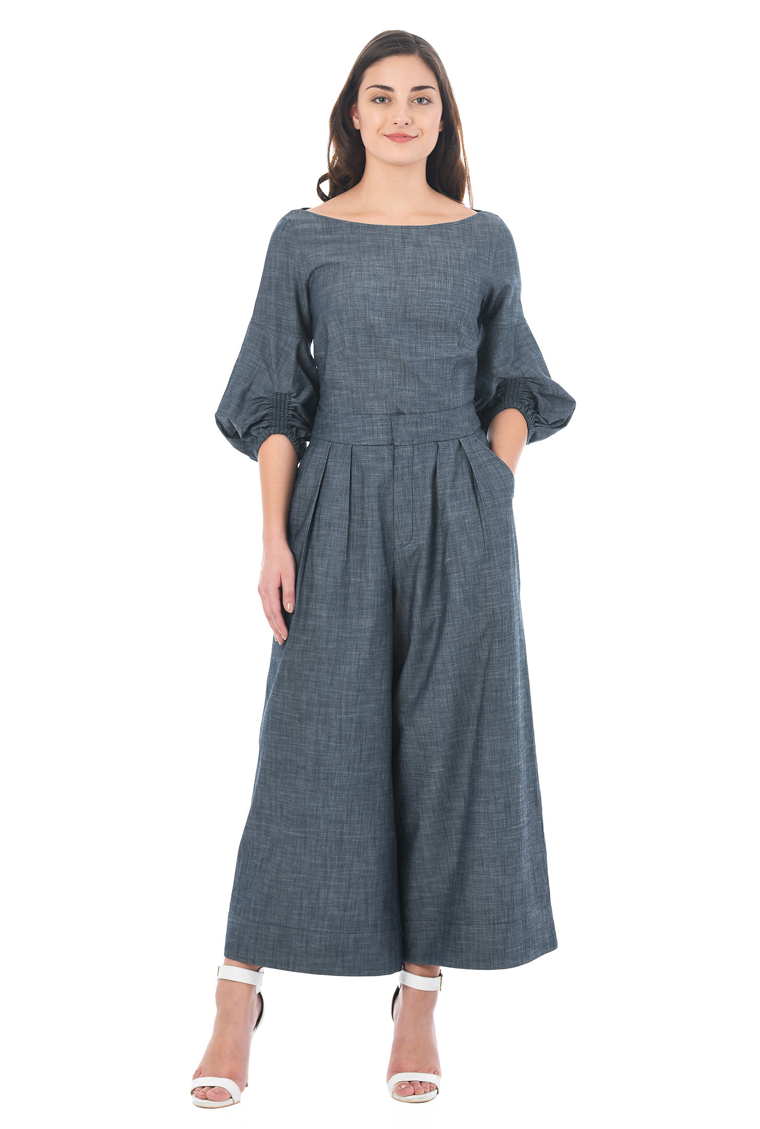 eShakti Women's Ruched bell sleeve cotton chambray top and palazzo pants