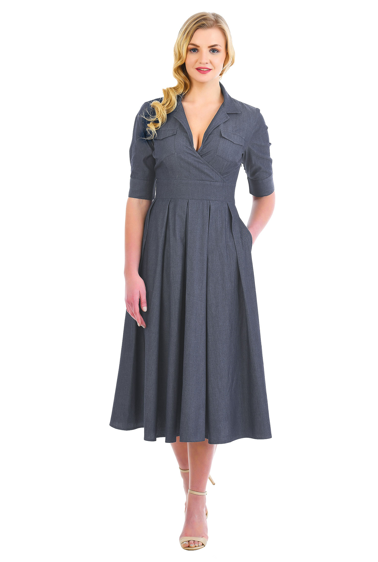 eShakti Women's Surplice cotton chambray shirtdress