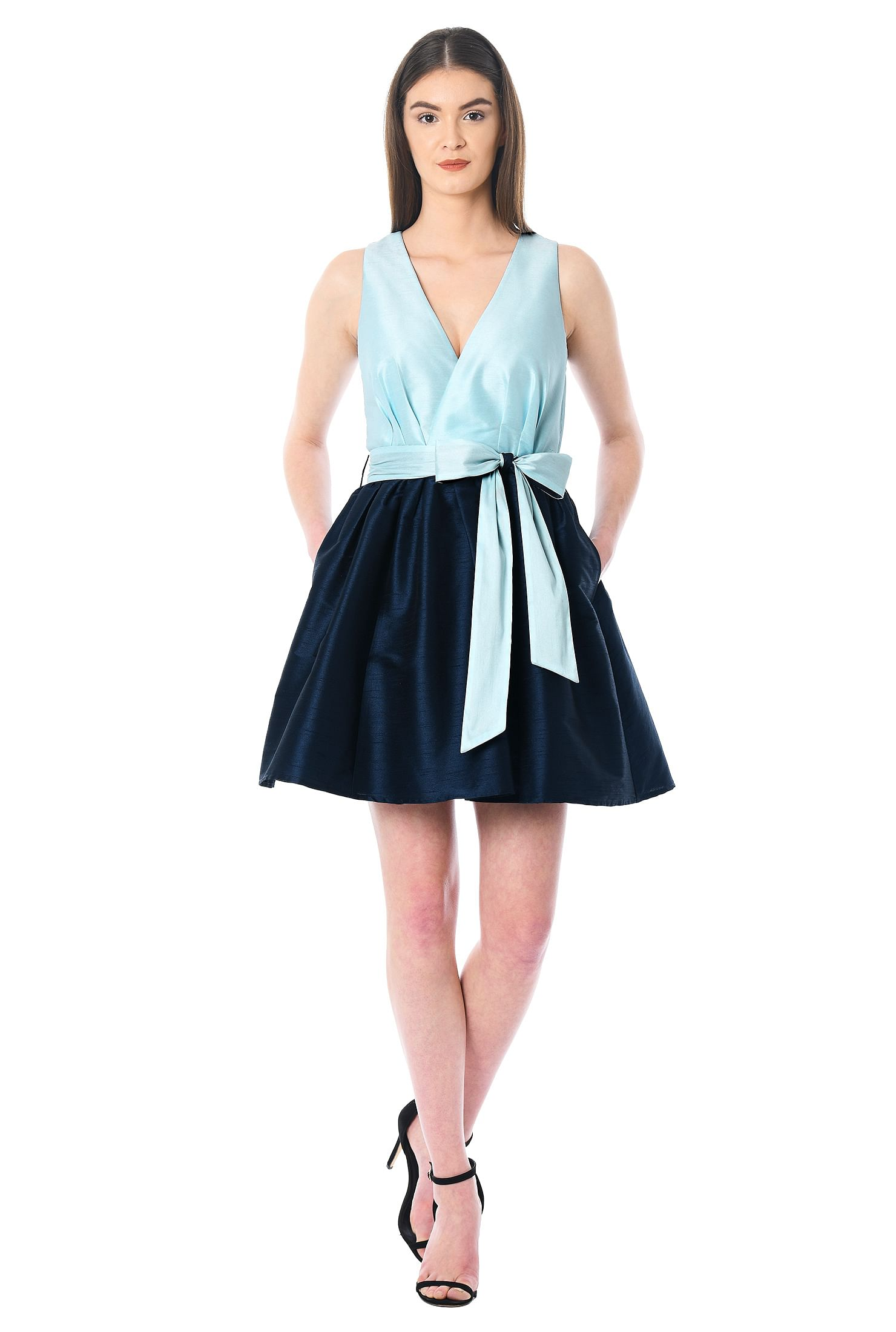 eShakti Women's Two tone sash tie dupioni dress