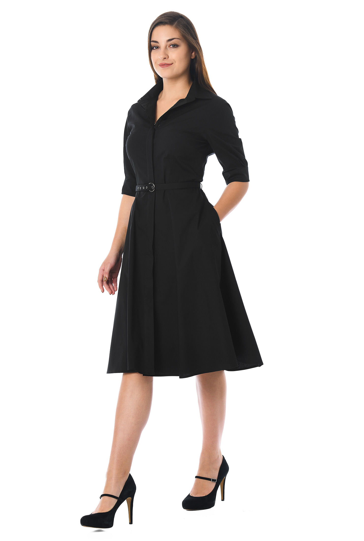 eShakti Women's Cotton poplin belted shirtdress