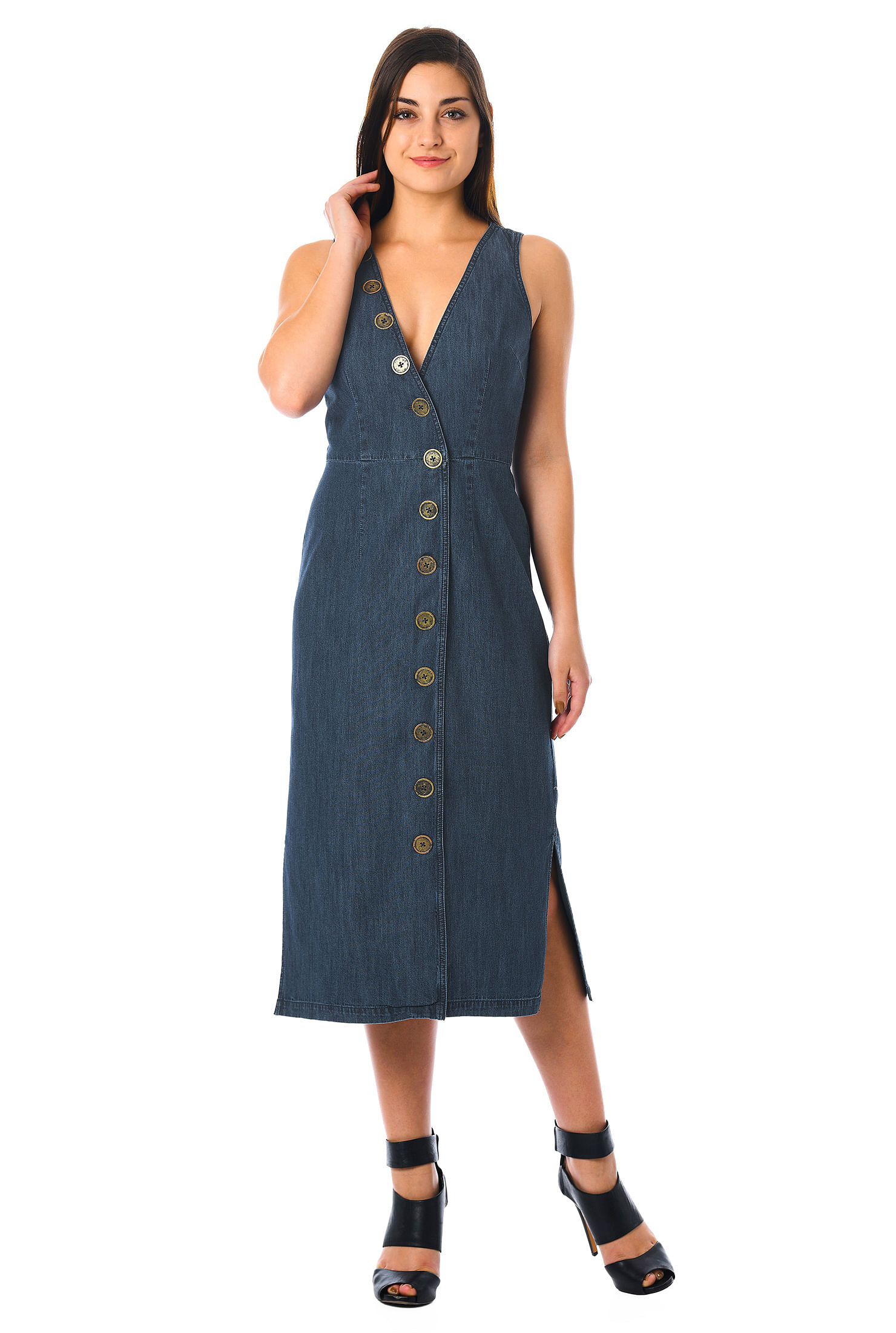 eShakti Women's Front button cotton denim sheath dress