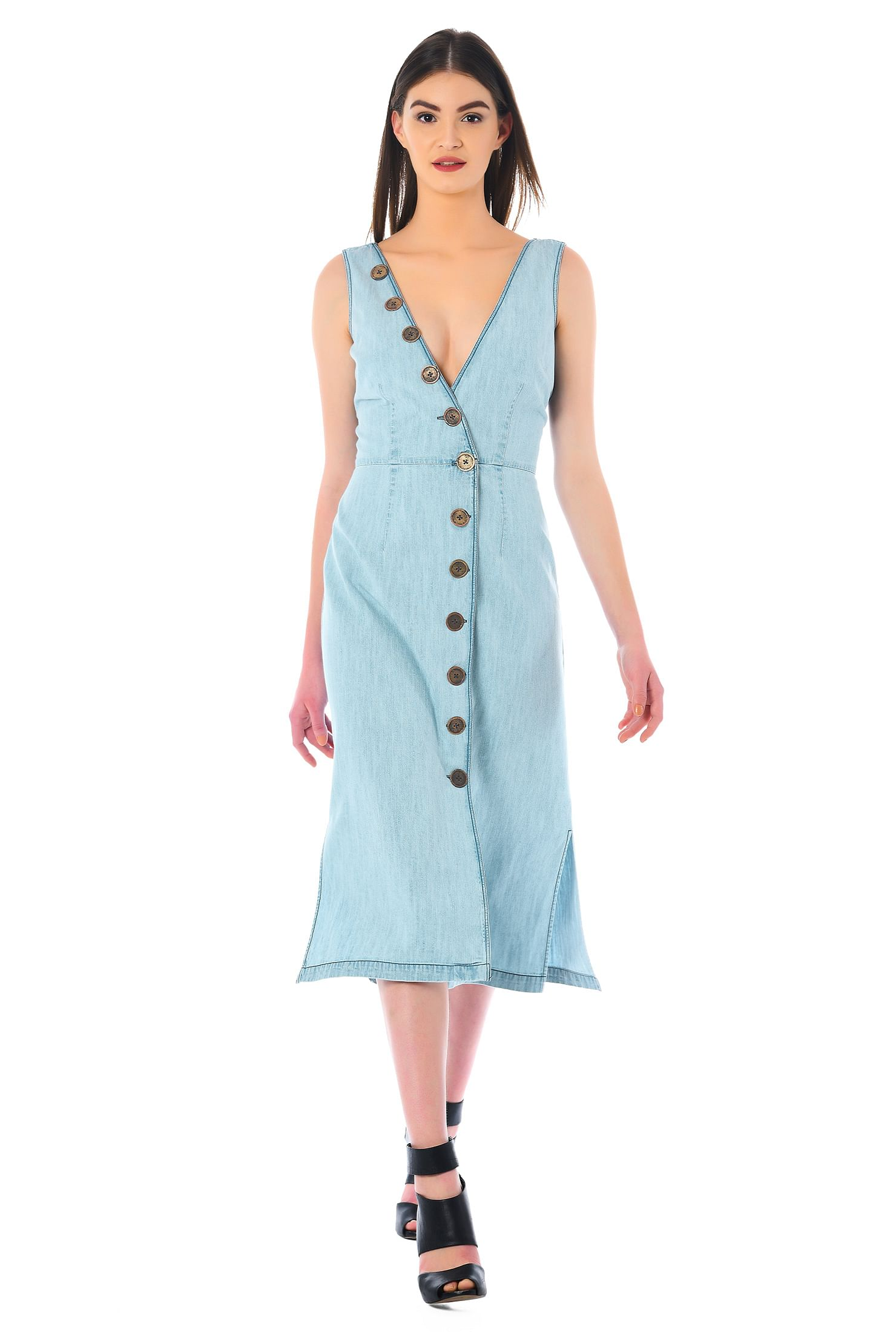 eShakti Women's Front button cotton denim A-line dress