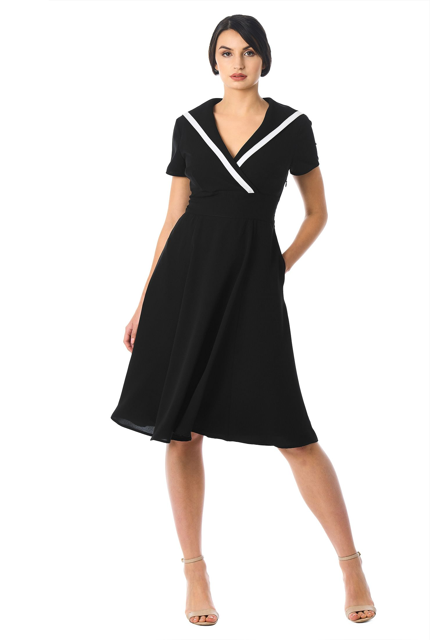 eShakti Women's Sailor collar contrast trim crepe dress