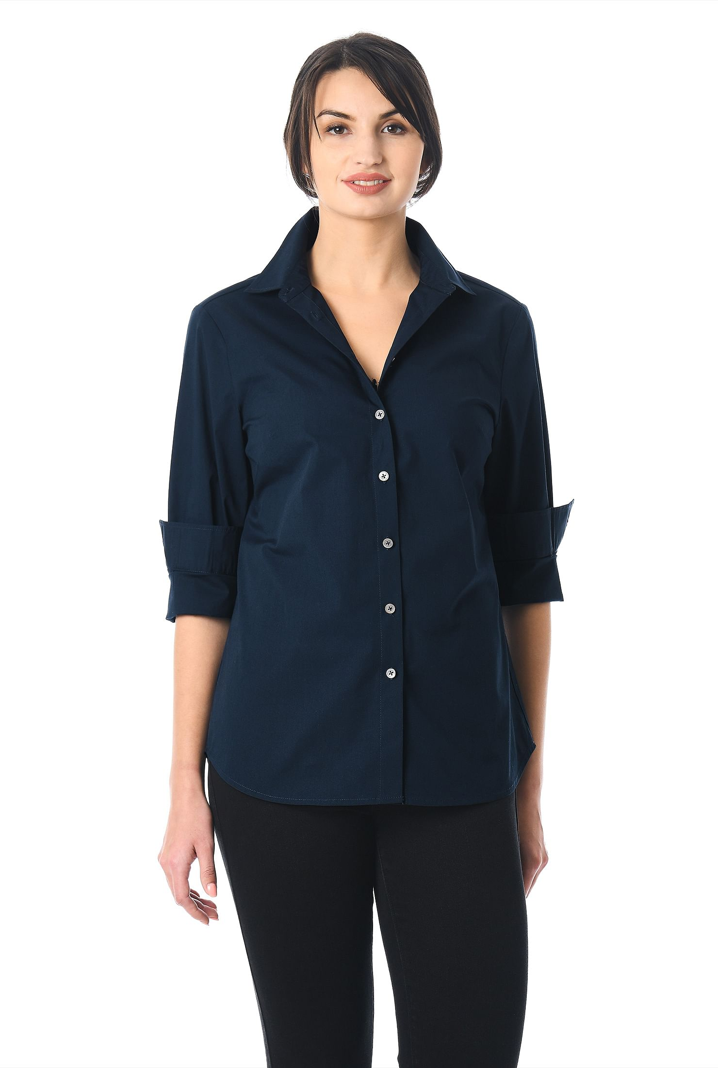 eShakti Women's Cotton poplin slim fit button-up shirt