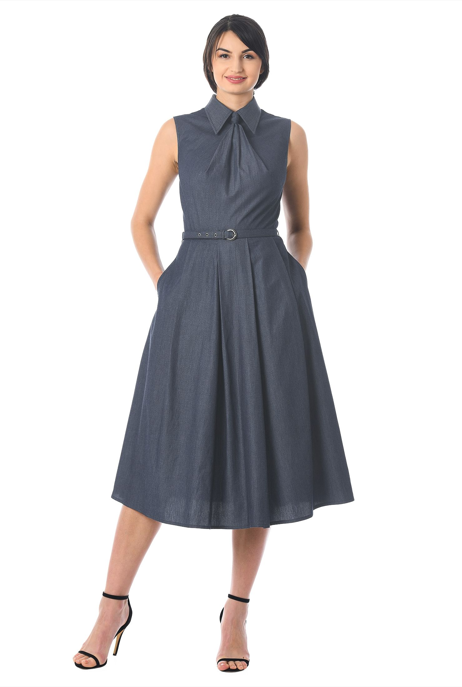 eShakti Women's Pleat neck cotton chambray dress