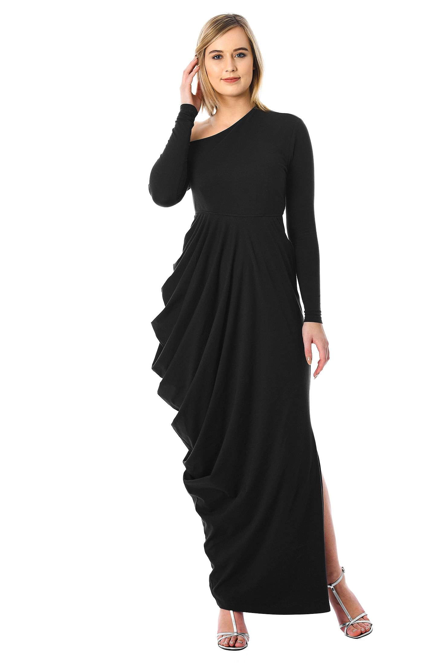 eShakti Women's One-shoulder cotton knit draped maxi dress