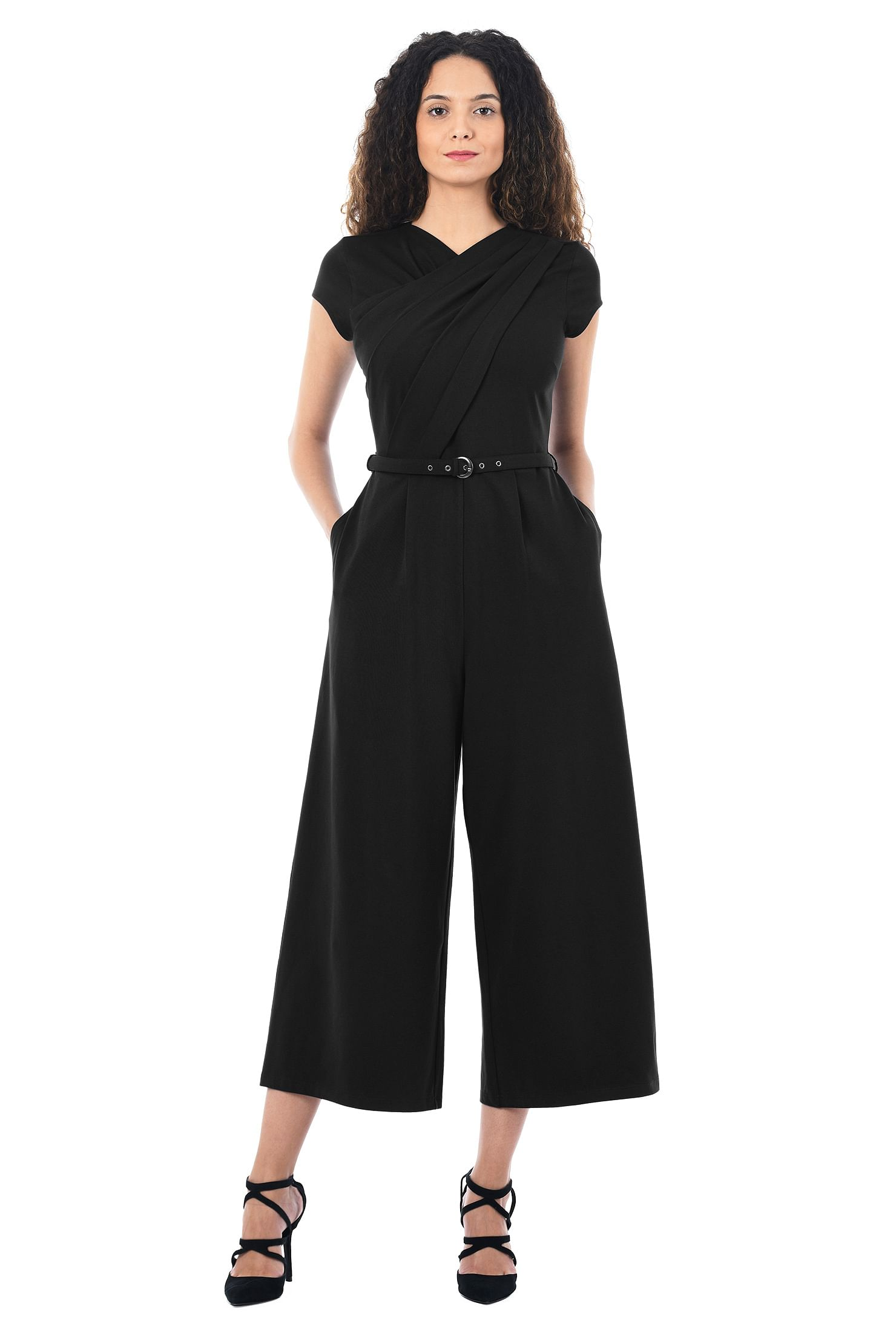 eShakti Women's Pleat front cotton jersey knit jumpsuit