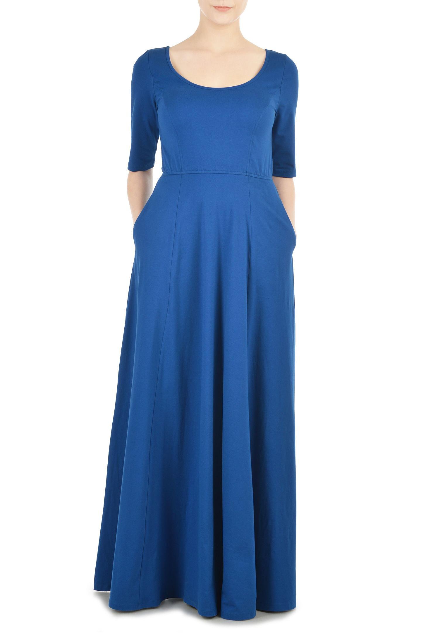 ddeb046b32f cotton/spandex Dresses, day dresses, elbow length sleeve dresses, Full  Length