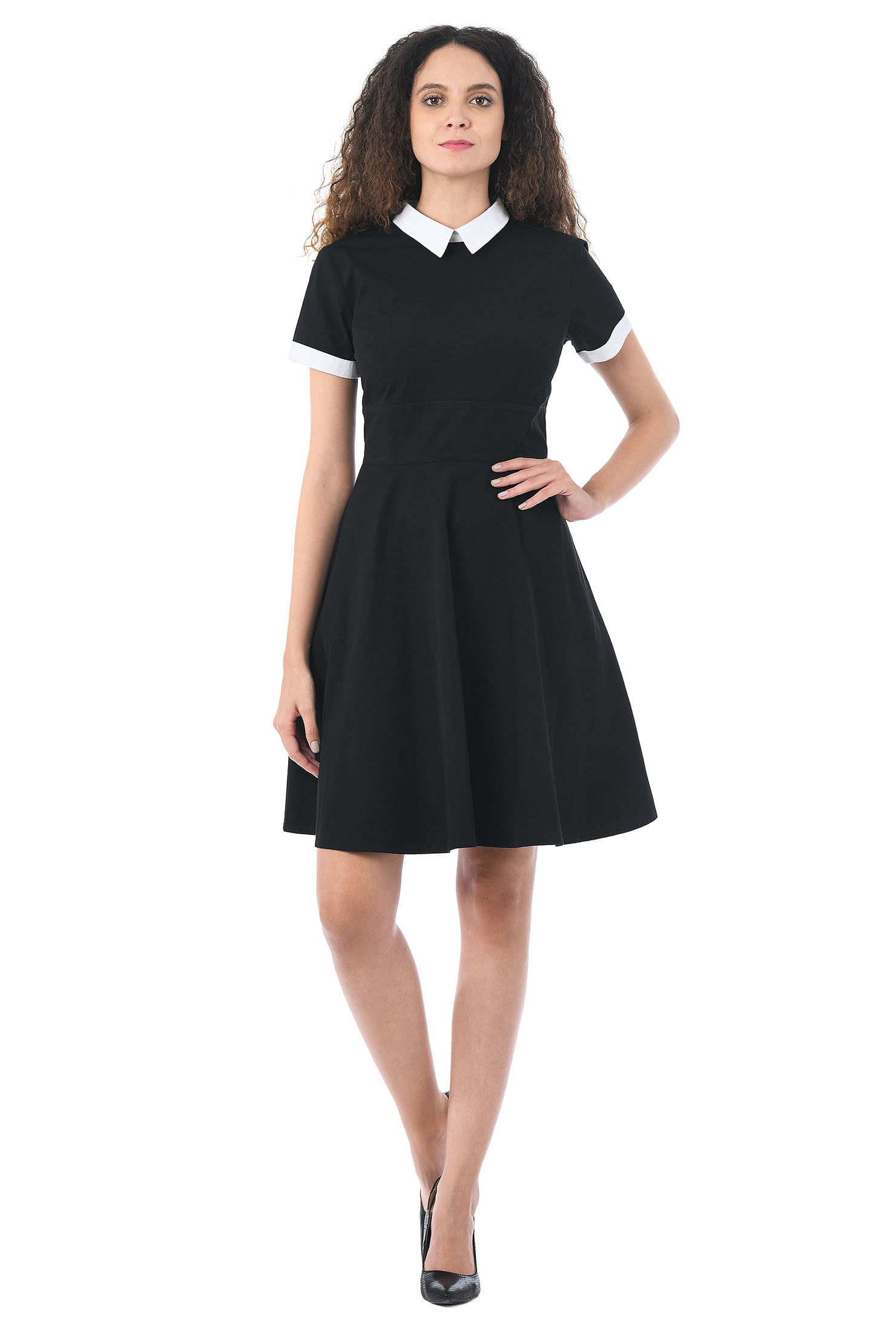 Black dress with white peter pan collar - Above Knee Length Dresses Back Zip Dresses Banded Empire Waist Dresses Black