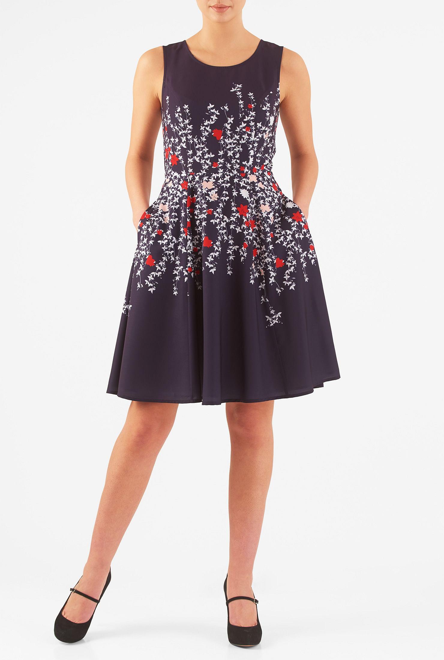 dc19387e13 Above knee length dresses, back zip dresses, Deep Navy Dresses, flared skirt