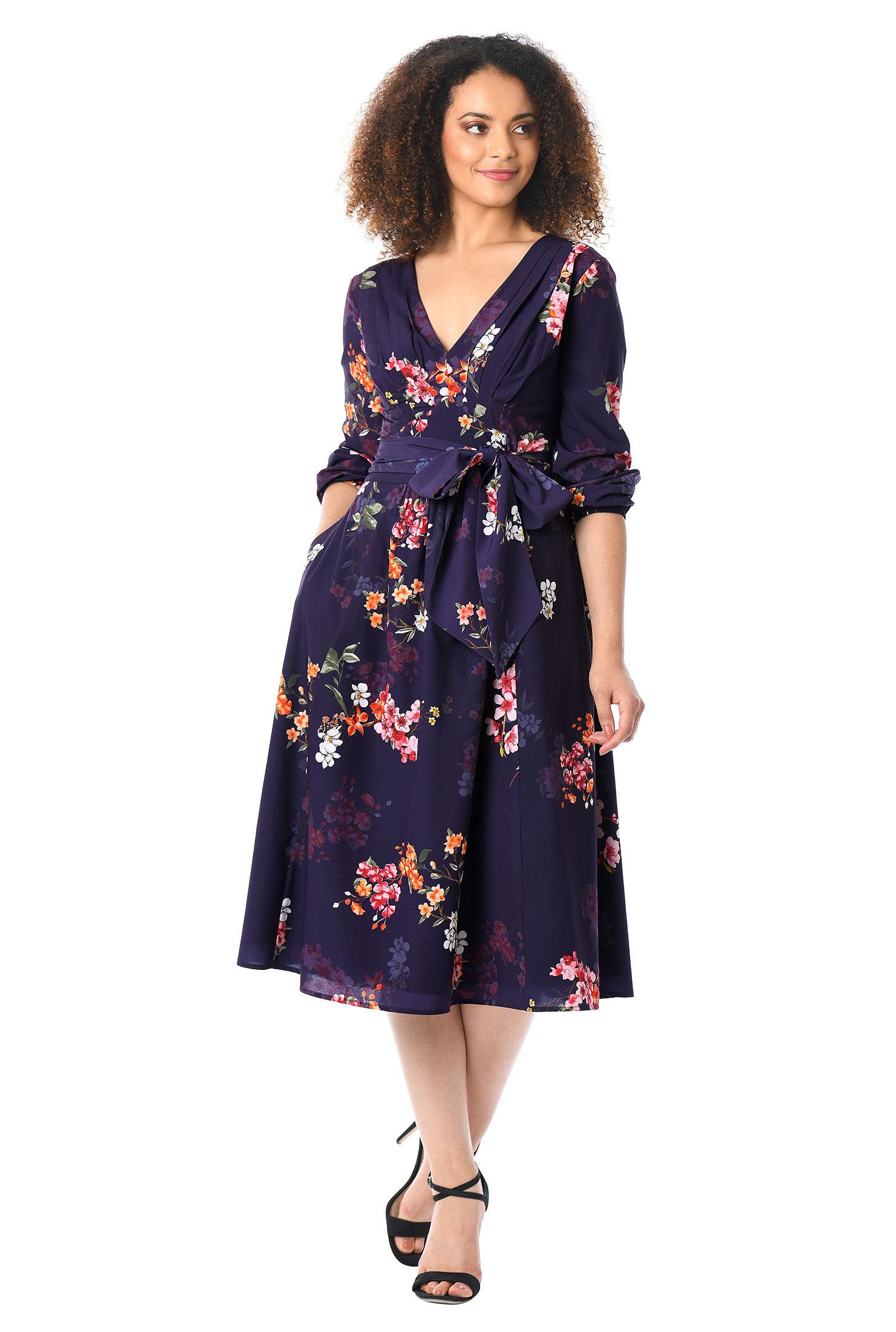 Womens fashion clothing 0 36w and custom pleated floral print crepe midi dress ombrellifo Choice Image