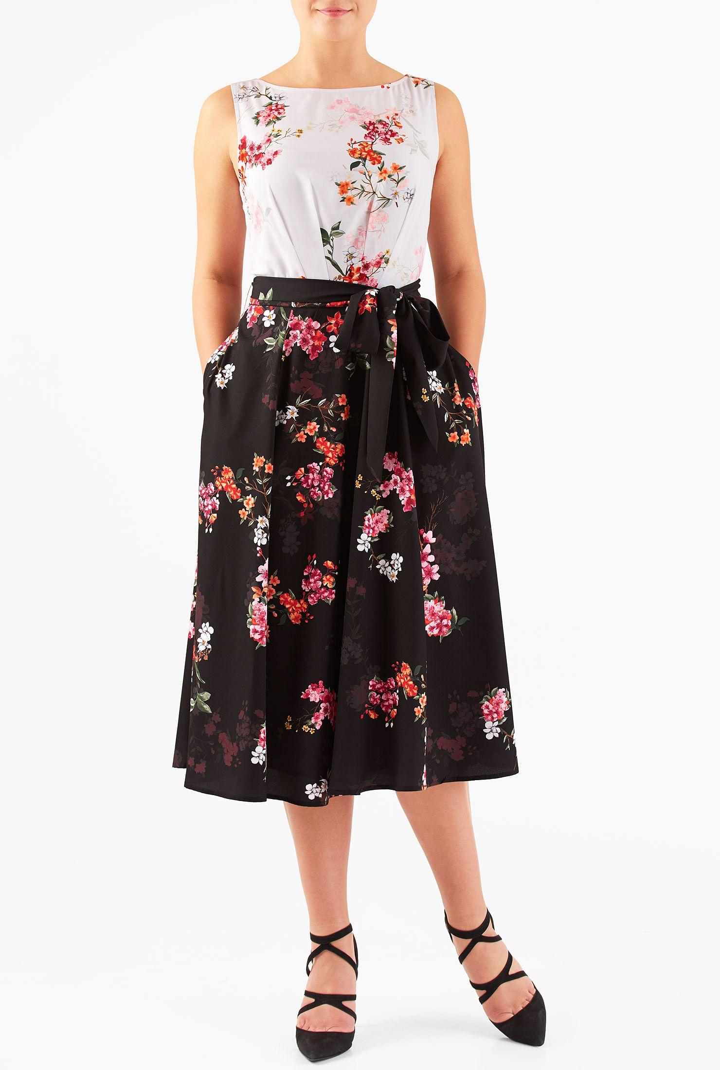Custom dresses online womens clothing tops at eshakti contrast tone floral print crepe midi dress ombrellifo Choice Image