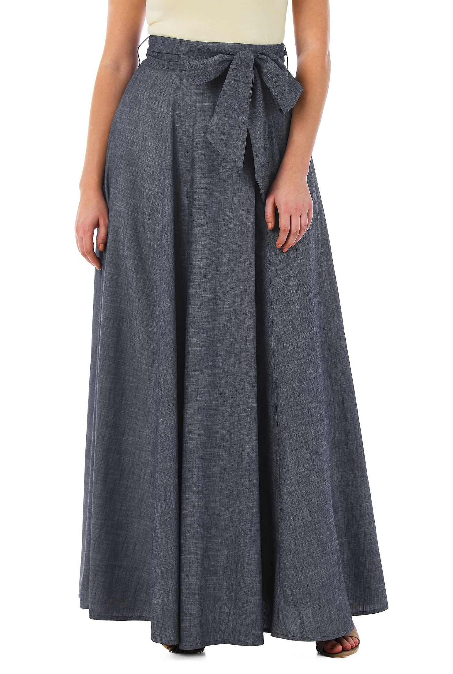 0efc7f668a banded waist skirts, Chambray Skirts, cotton skirts, Feminine Skirts,  fifties inspired
