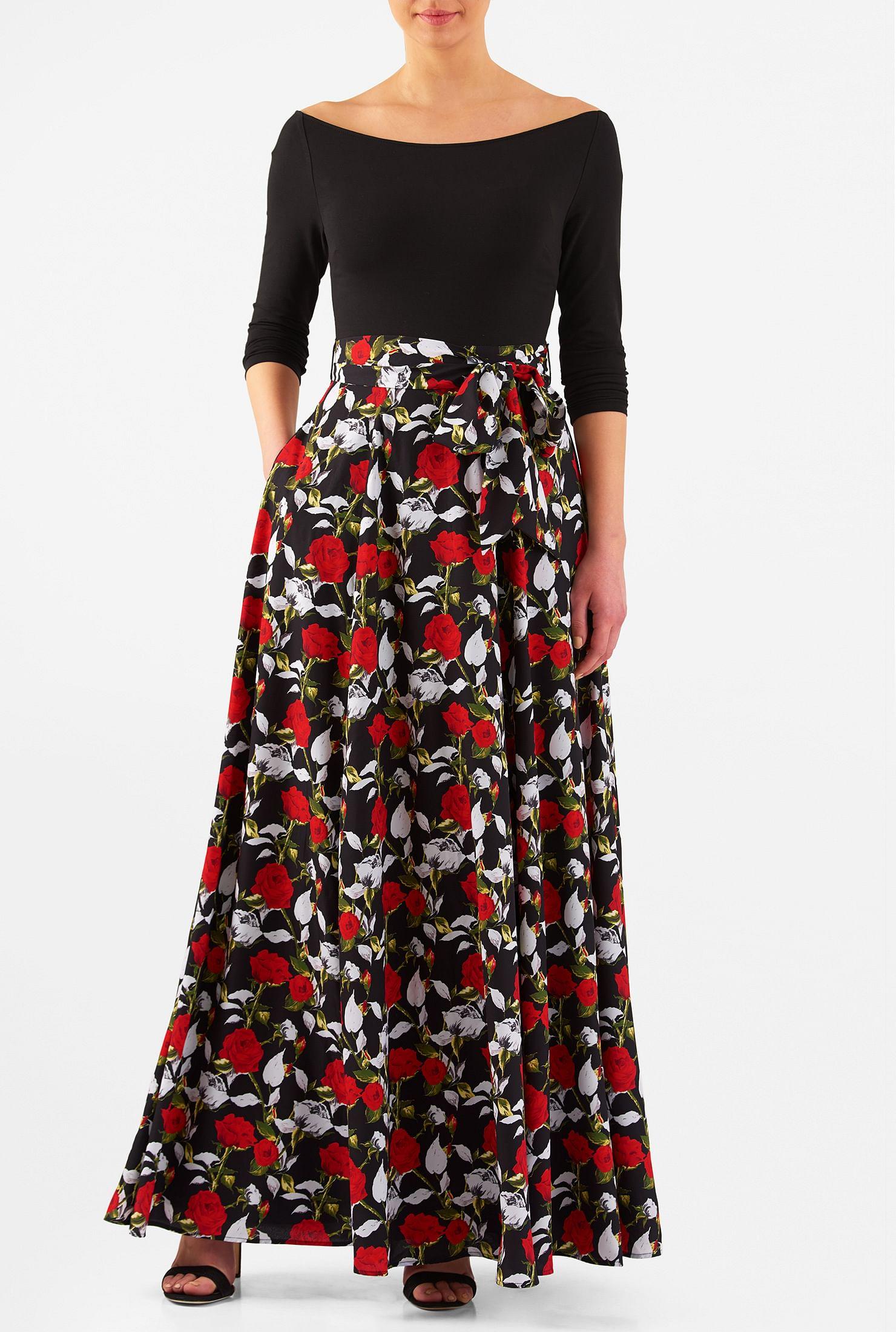 f88719aac Rose print mixed media maxi dress