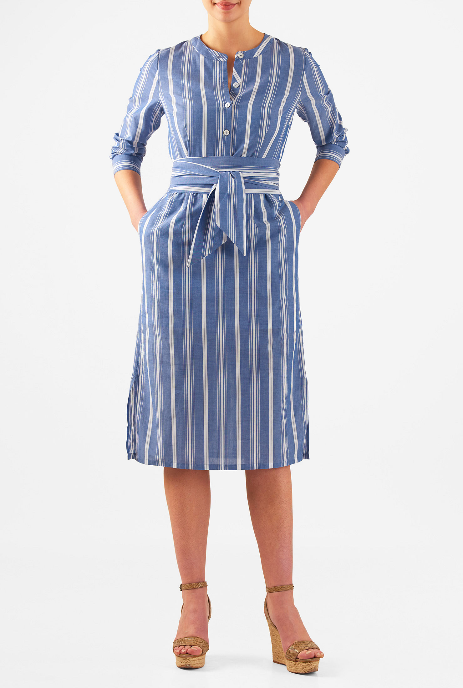 Women 39 s fashion clothing 0 36w and custom for Belted chambray shirt dress