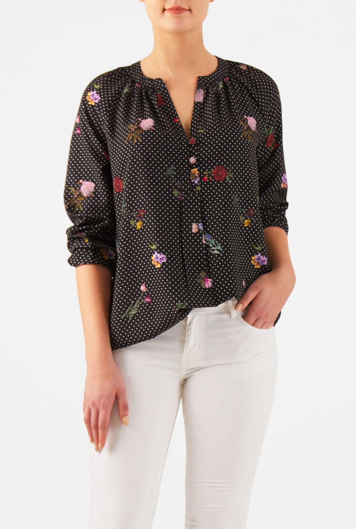 88486bb4a7 Floral and polka dot print split neck crepe tunic