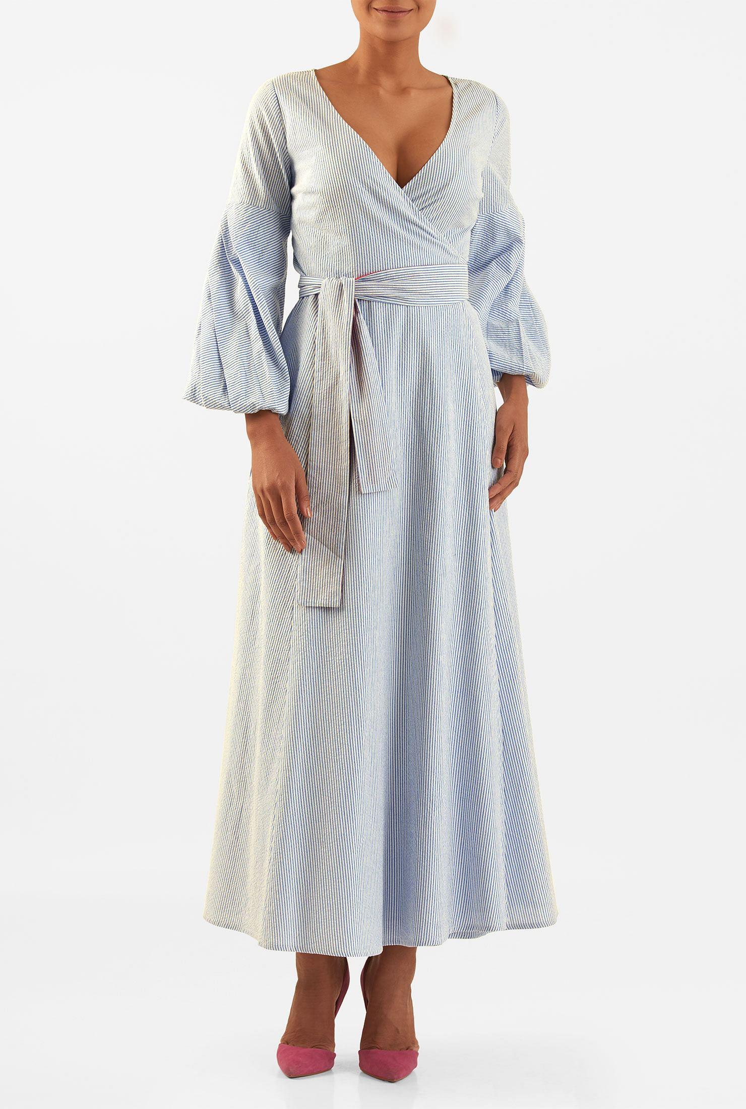 Poet sleeve cotton seersucker stripe maxi wrap dress