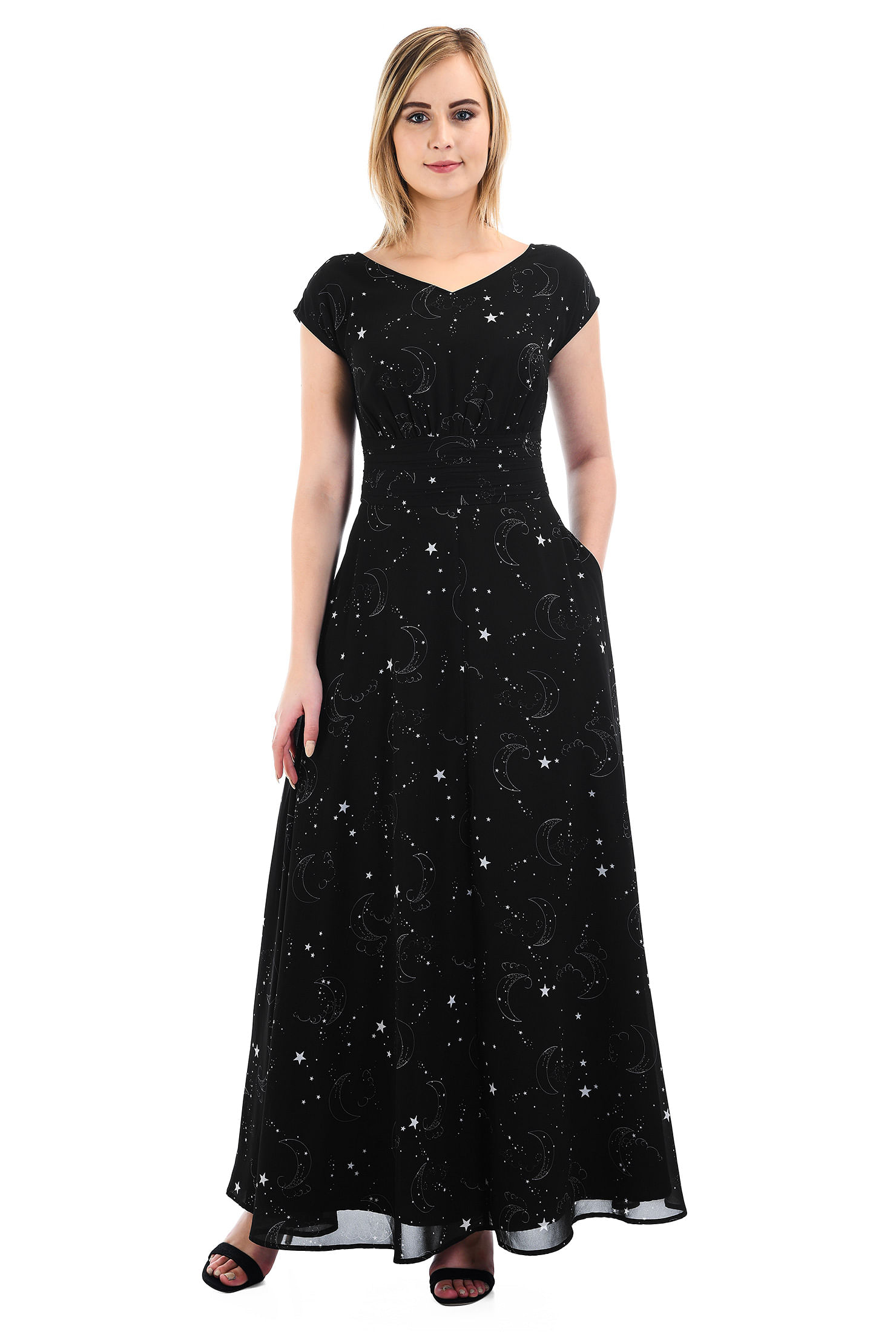 5e9d44336841 Black And White dresses, Dolman Cap Sleeve Dresses, fit-and-flare