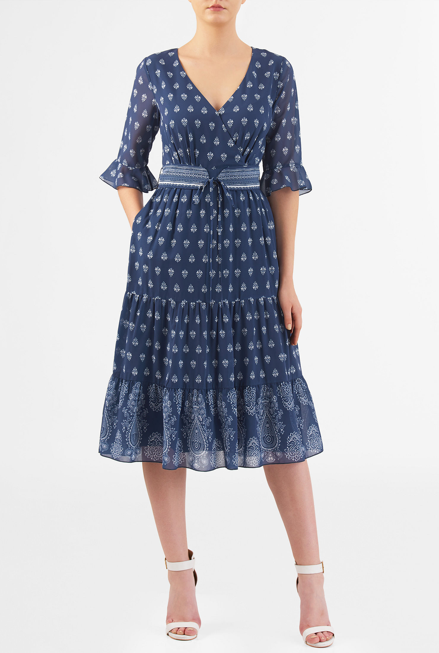 a3aba3a8 Paisley print tiered georgette dress