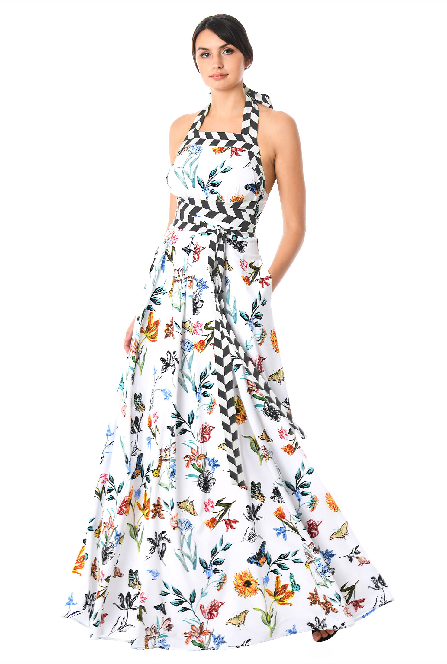Empire Tie Waist Floral Butterfly Print Crepe Maxi Halter Dress by Eshakti