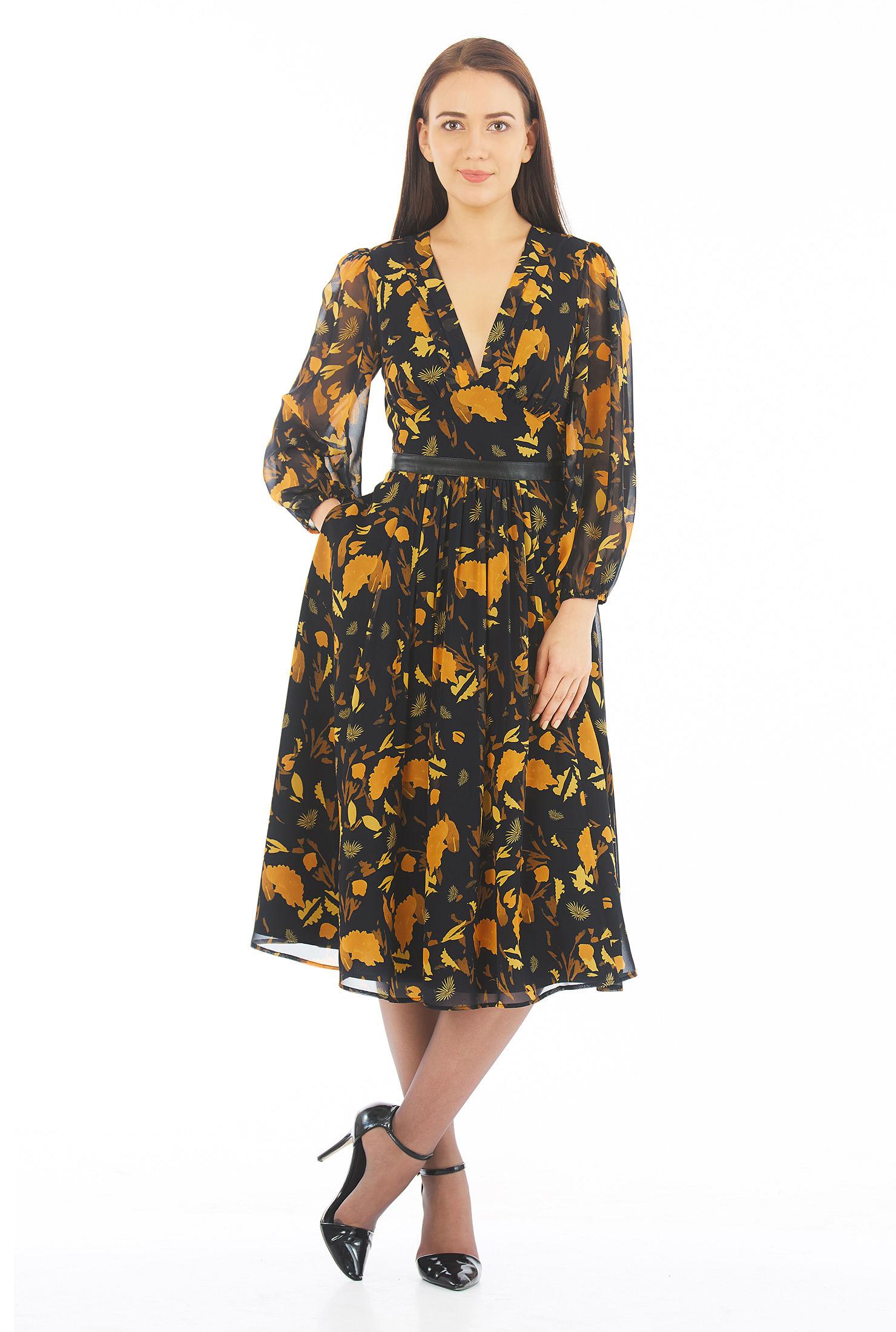 c250e2a7133e back zip dresses, black dresses, blouson sleeve dresses, bracelet length  sleeve dresses