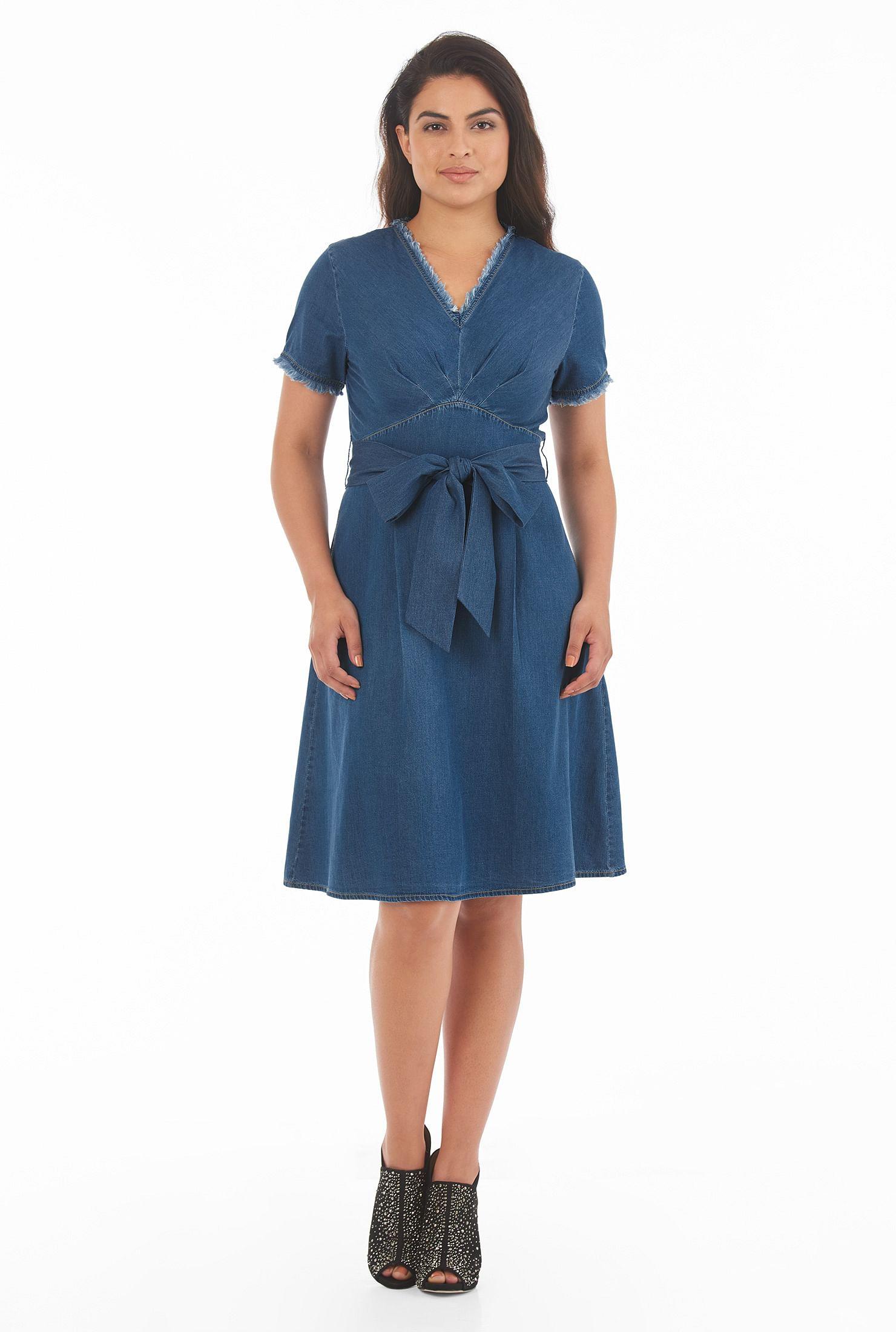 Cotton denim sash tie empire dress