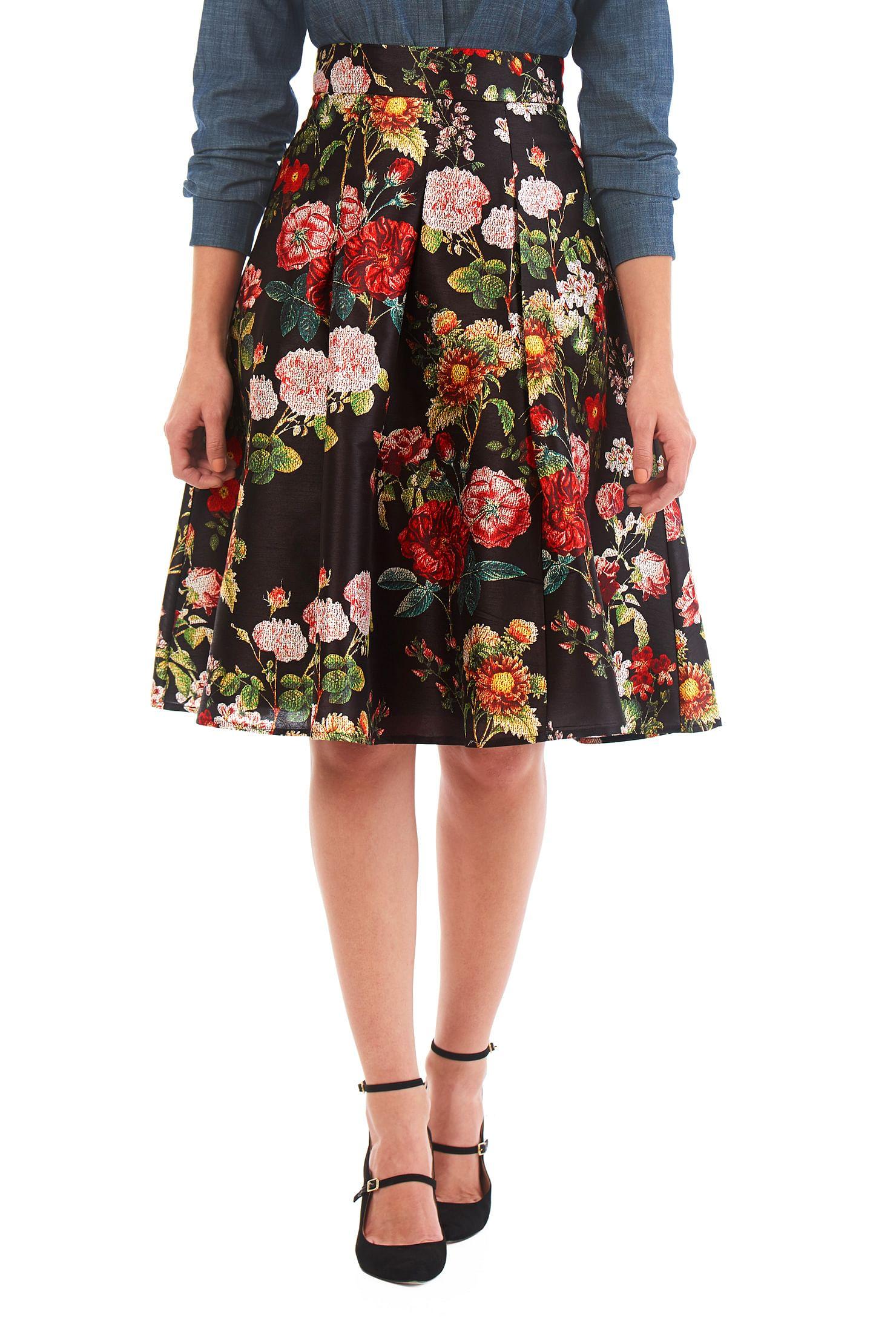 abe45c2e4 High Waisted Knee Length Pleated Skirt
