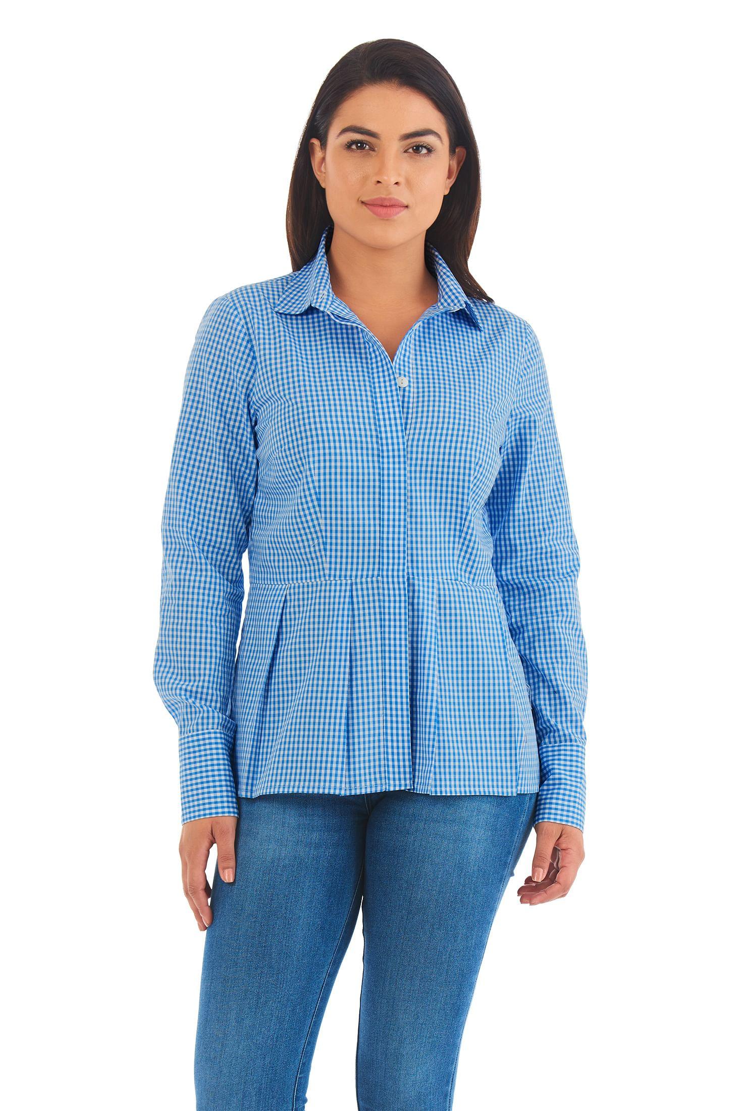 014350b06 cotton gingham check shirts, hip length shirts, Long Sleeve Shirts, Machine  wash