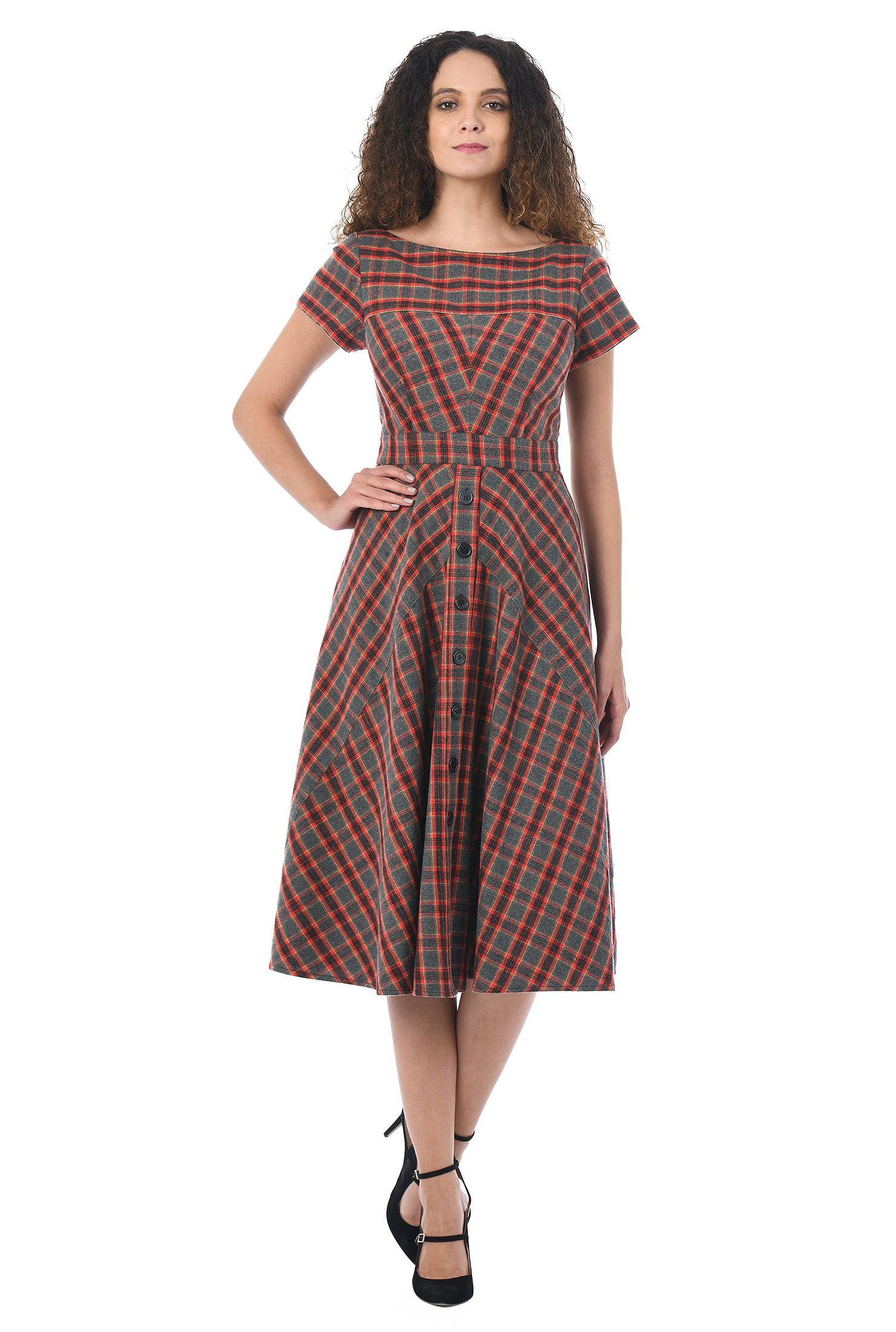 Brushed plaid faux-button front dress