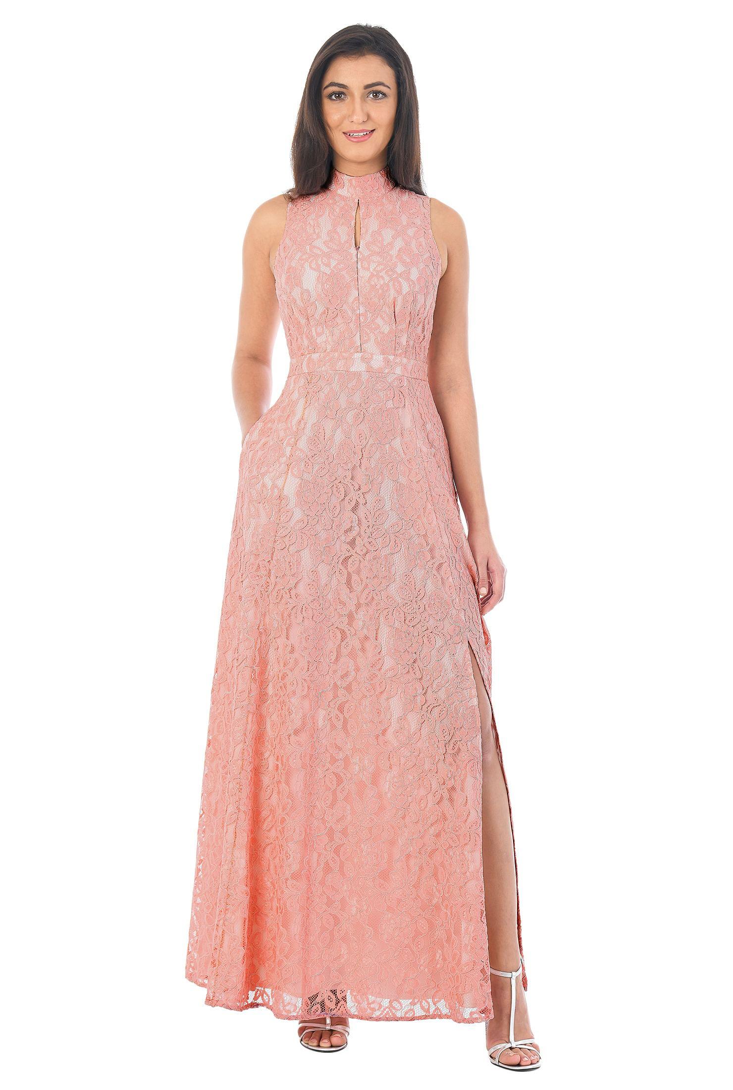 9e4952c4e89 Mock neck keyhole floral lace maxi dress