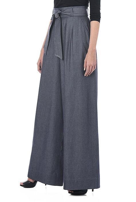 Womens Gauchos Wide Leg Mid-Calf Pants Waist Sash Black White SZ S//M /& L//XL  NEW