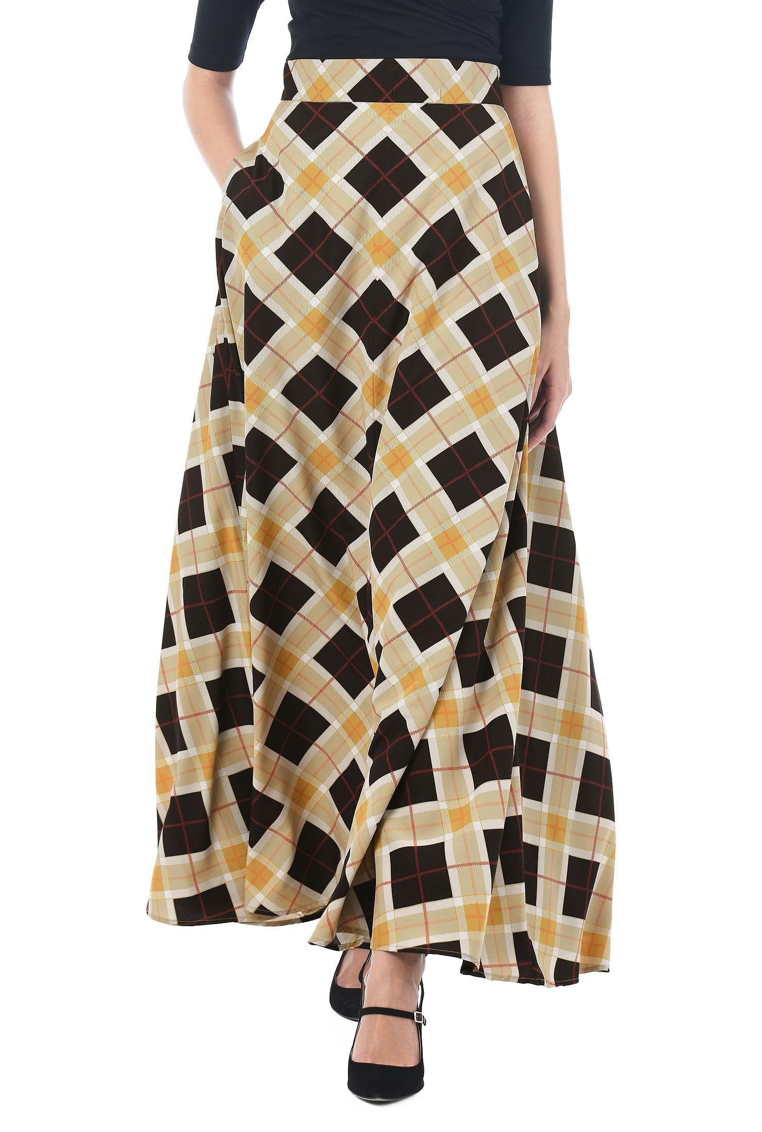 549a7f9dbe9 banded elastic waist skirts, Crepe Skirts, digital print skirts, full  length skirts