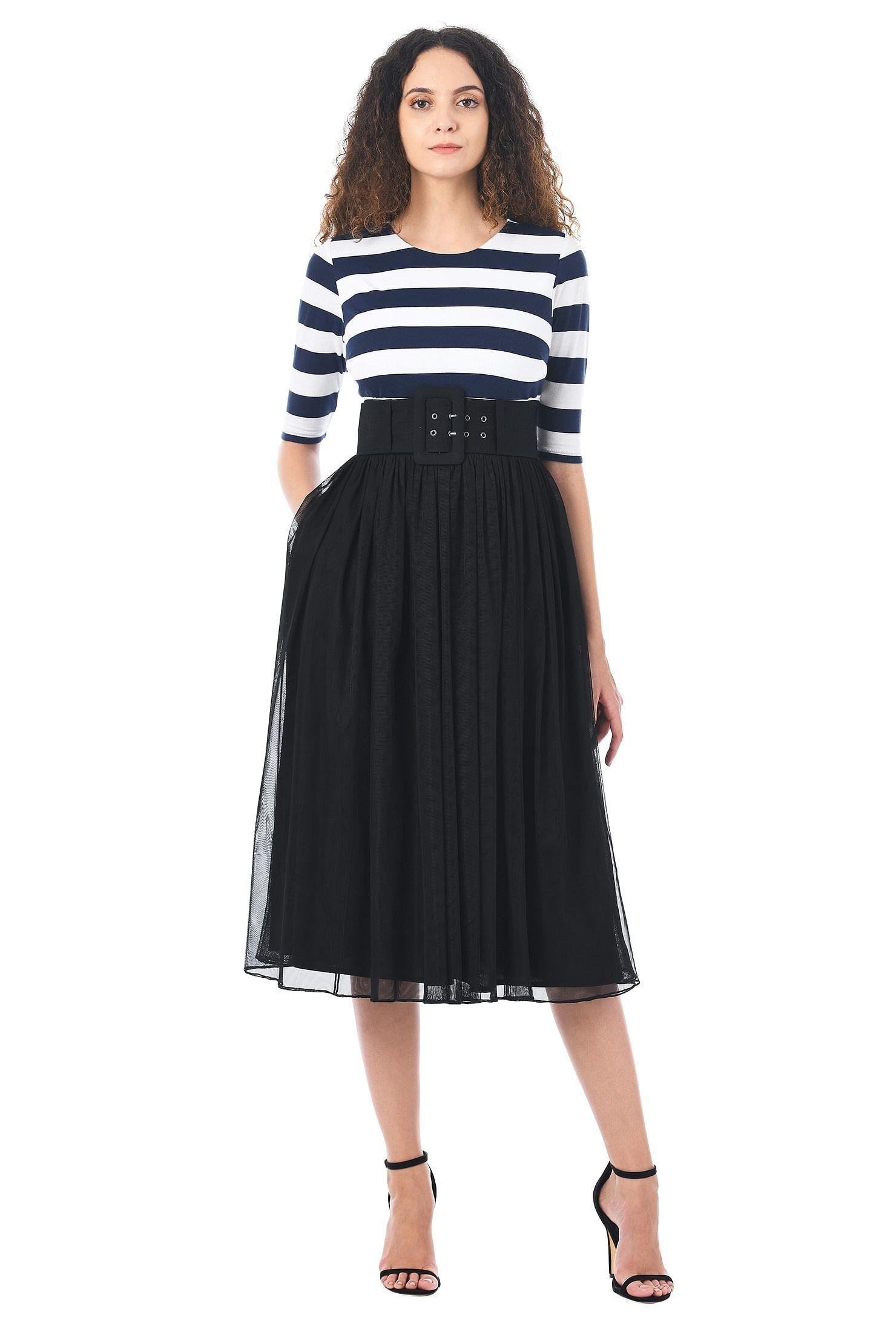 107a21a79b75 black dresses, cotton/spandex Dresses, elbow length sleeve dresses, Full  skirt