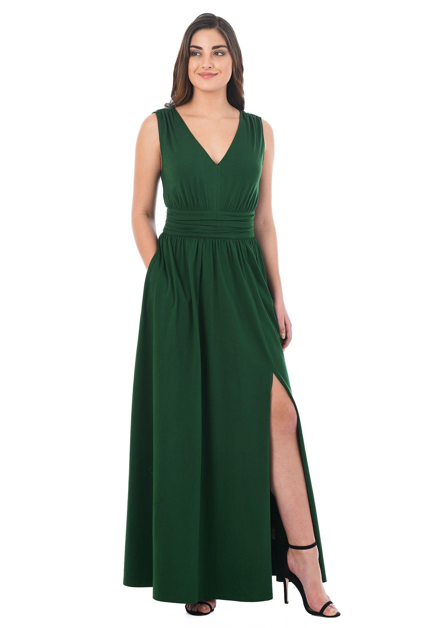 df07a7026e bottle green dresses, cotton/spandex Dresses, Full Length Dresses, jersey  knit