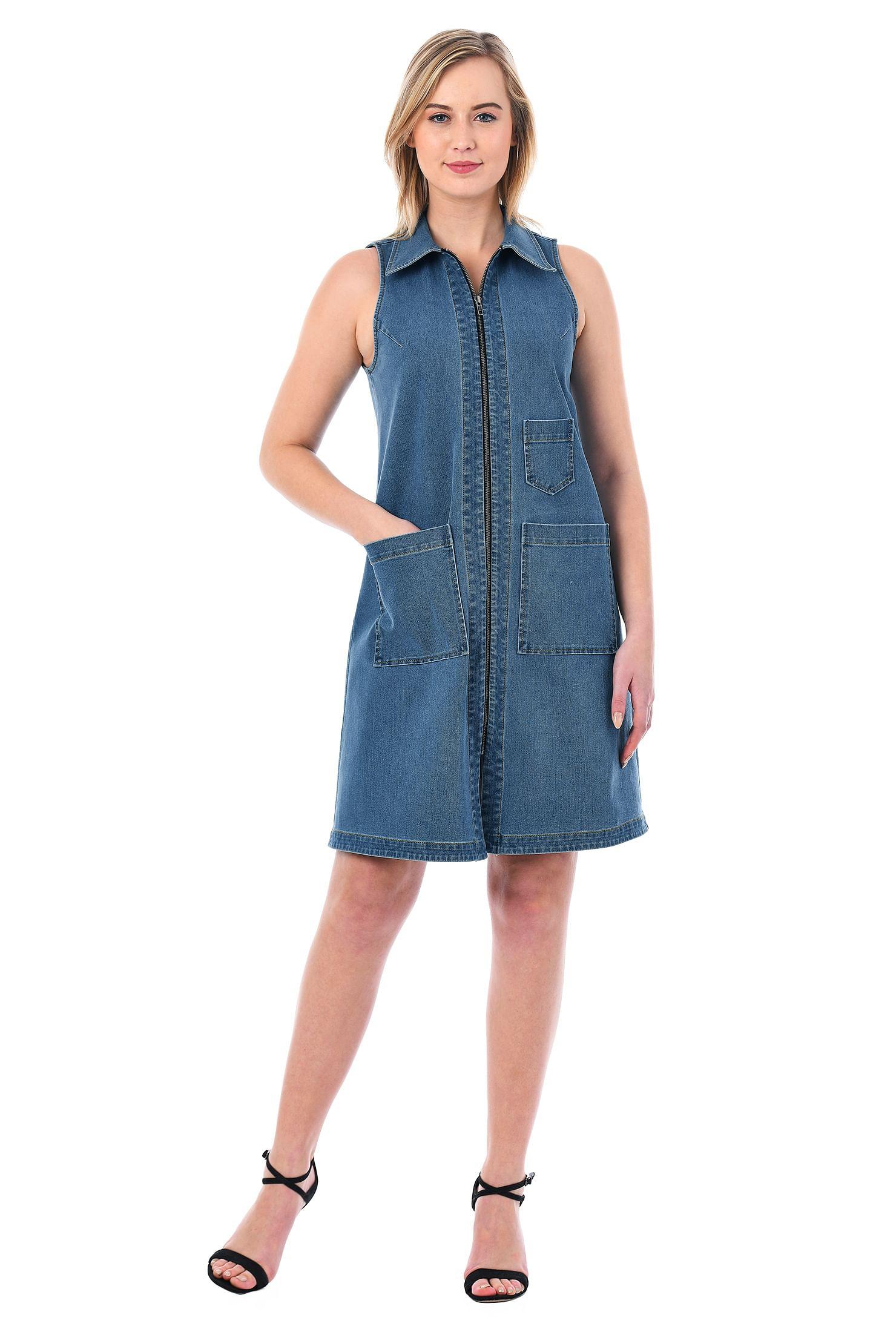 052322200e4 Front zip denim shift dress