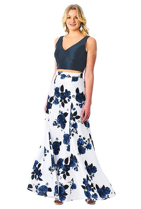 Crop Top And Floral Print Dupioni Skirt Set