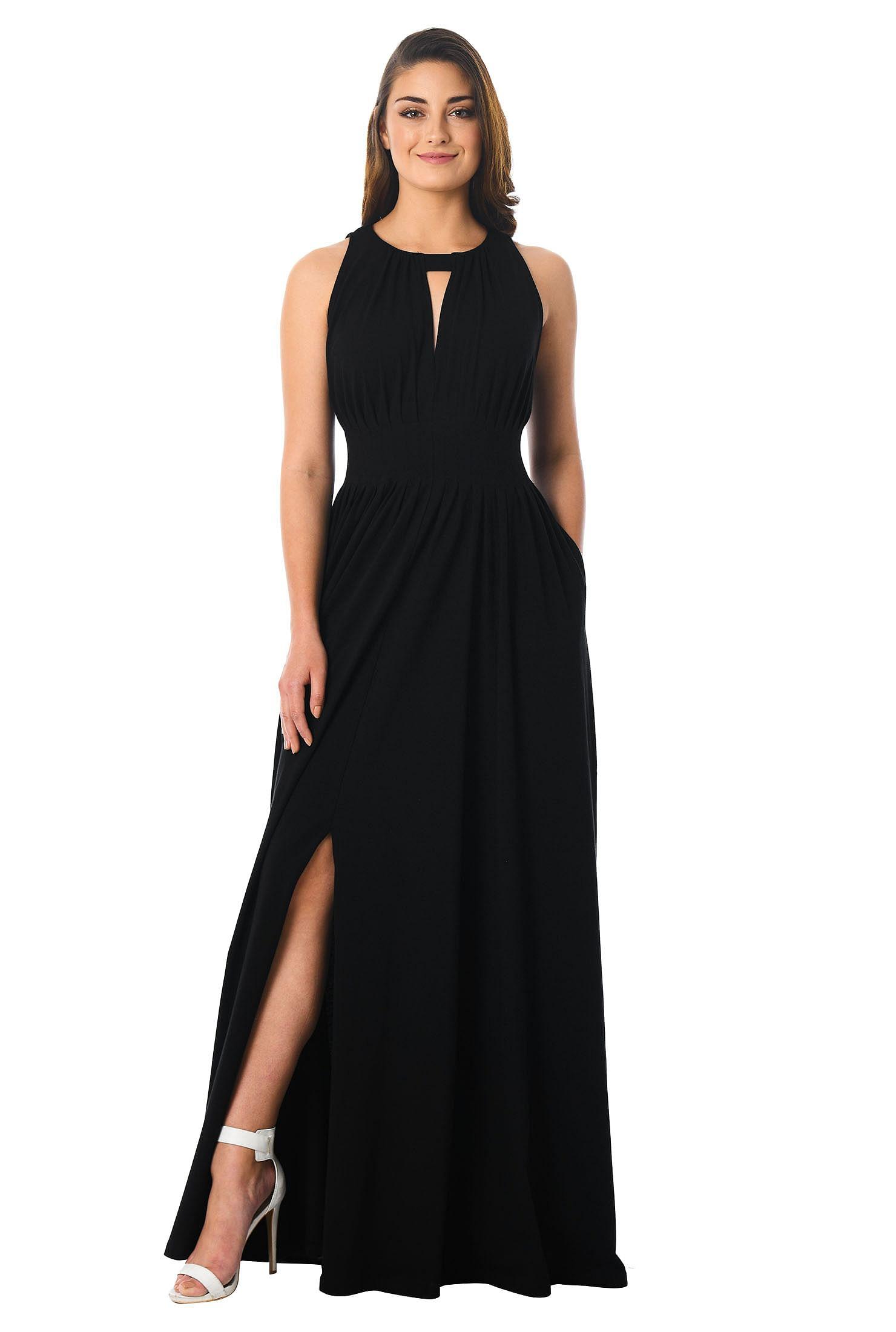 d26e28df7b1 ... jersey knit maxi dress. , banded jewel neck front dresses, black dresses,  cotton/spandex Dresses, Full