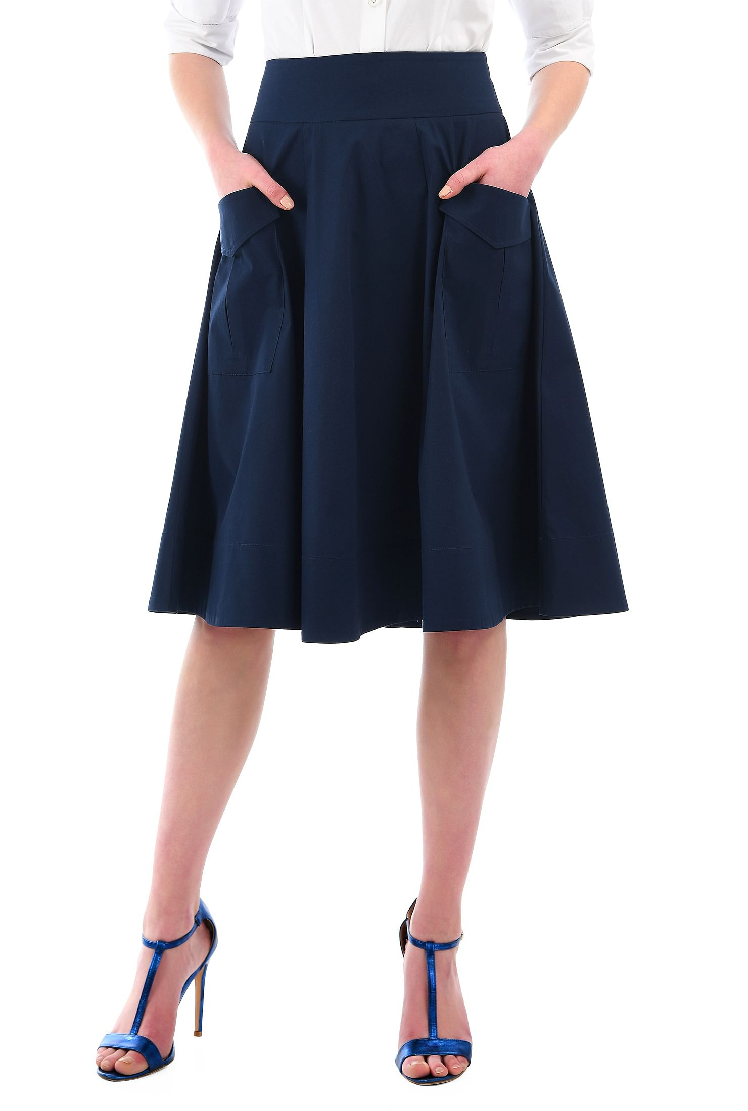 4b3502cfea banded waist skirts, below knee length skirts, Cotton/spandex skirts, Deep