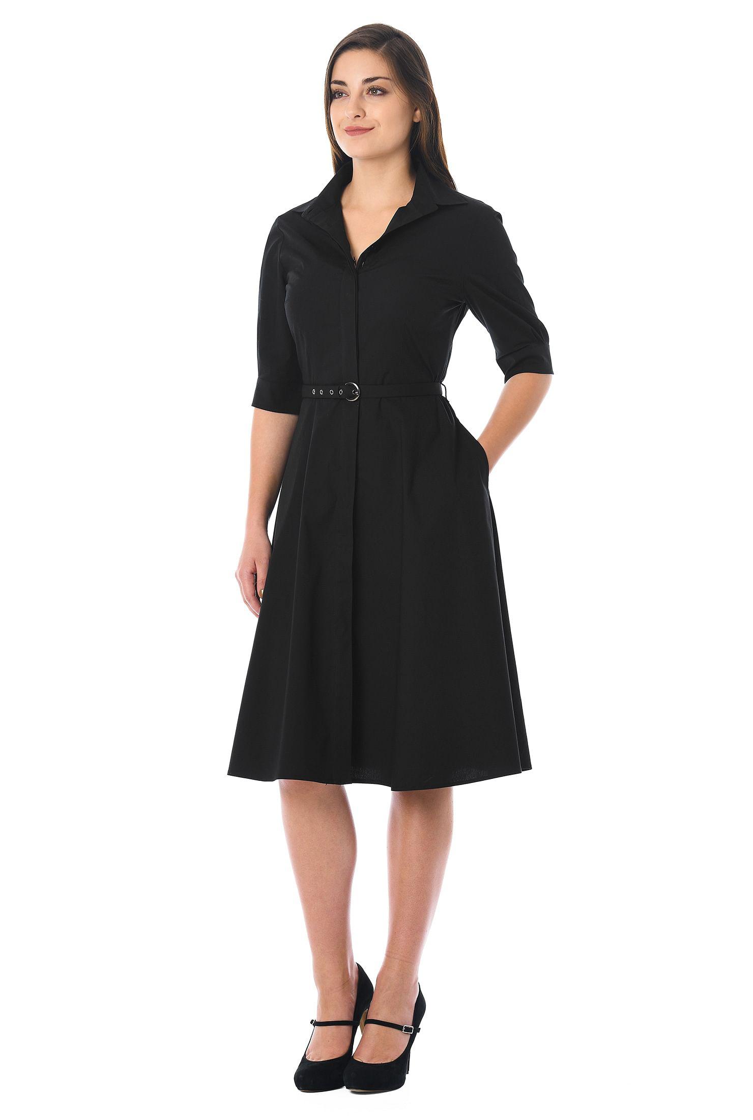 1950s Housewife Dress | 50s Day Dresses Cotton poplin belted shirtdress $54.95 AT vintagedancer.com