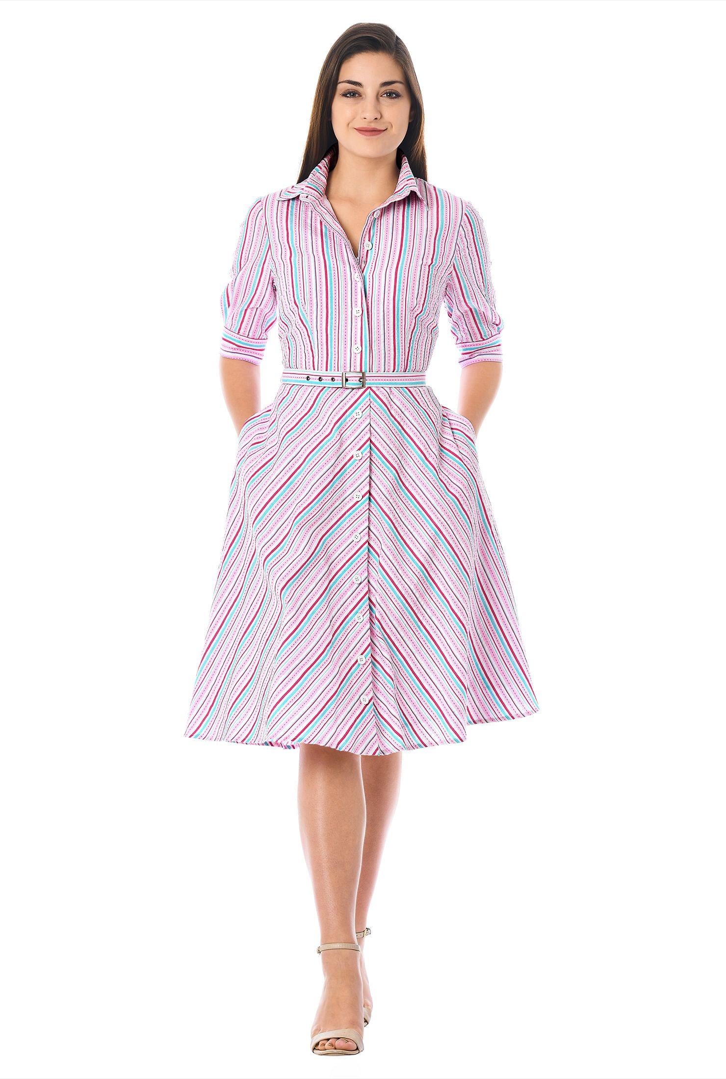 ebaeb364e004 below knee length dresses, button front dresses, casual event dresses,  Collared Dresses