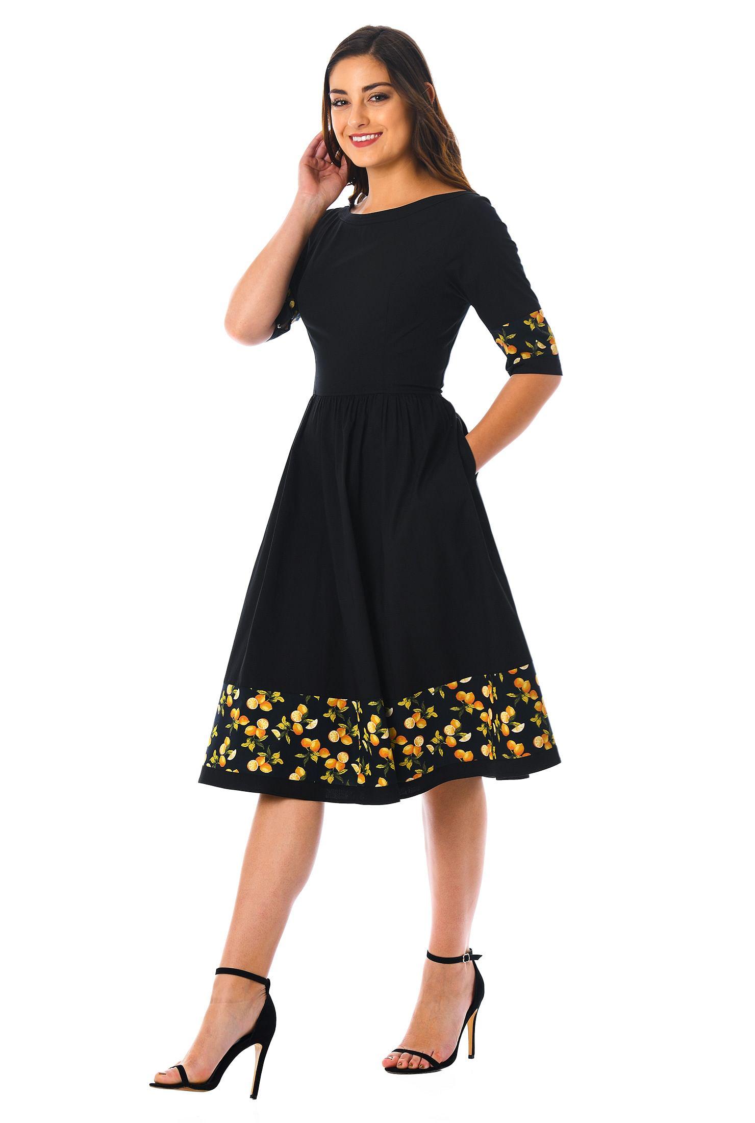 2e2bed138df back zip dresses, below knee length dresses, black/navy/yellow dresses