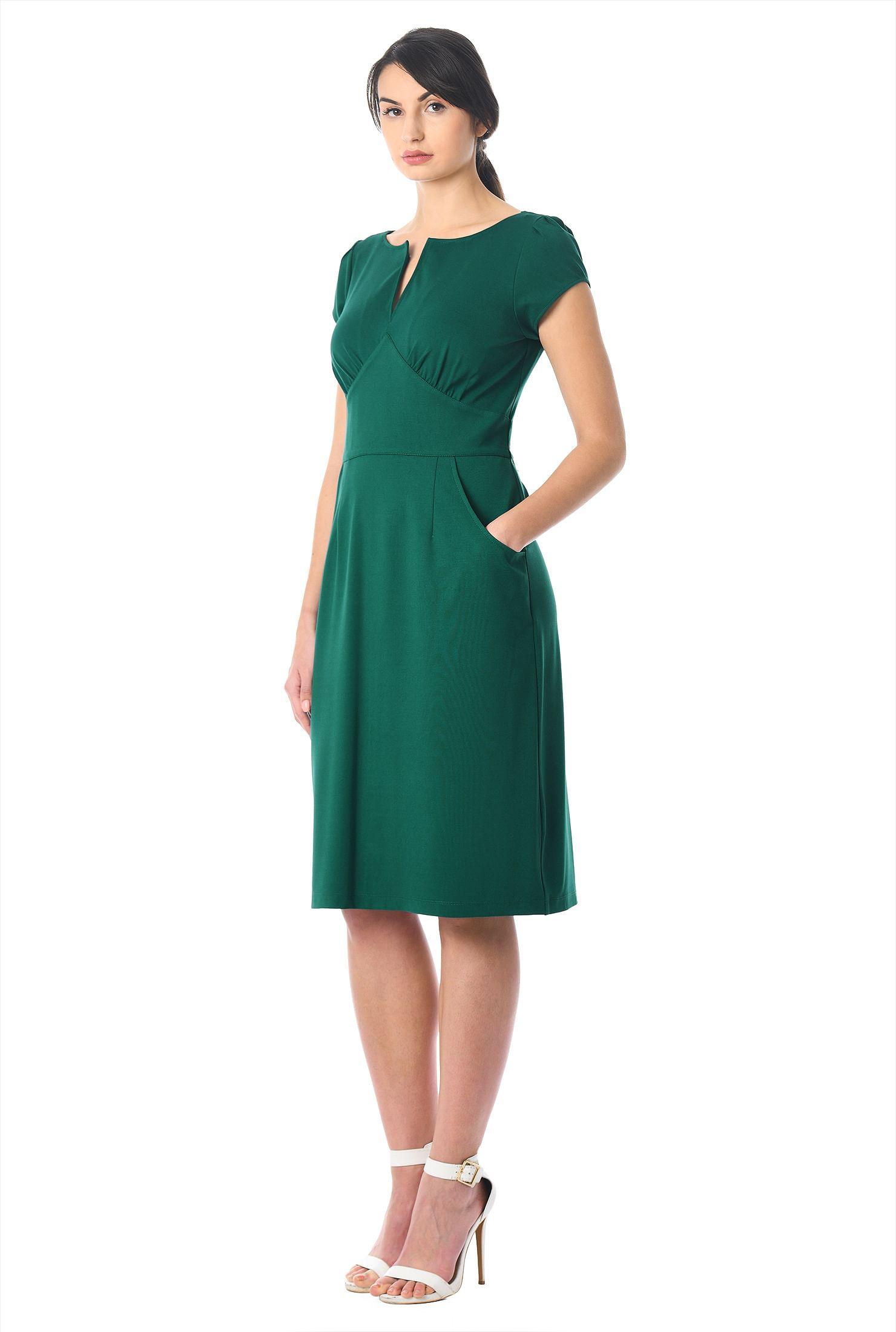 Ponte knit empire sheath dress