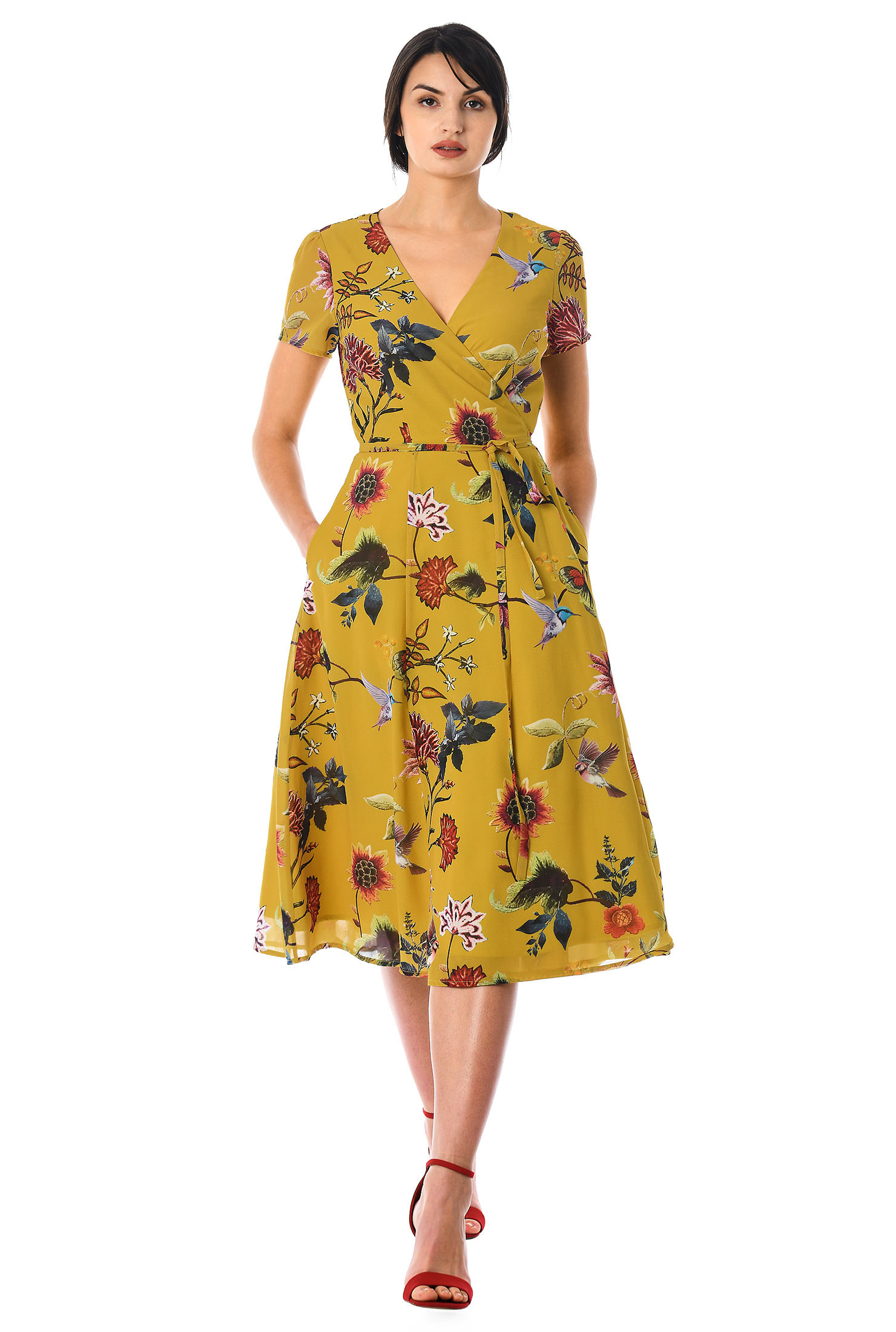 Floral Print Georgette Wrap Dress by Eshakti