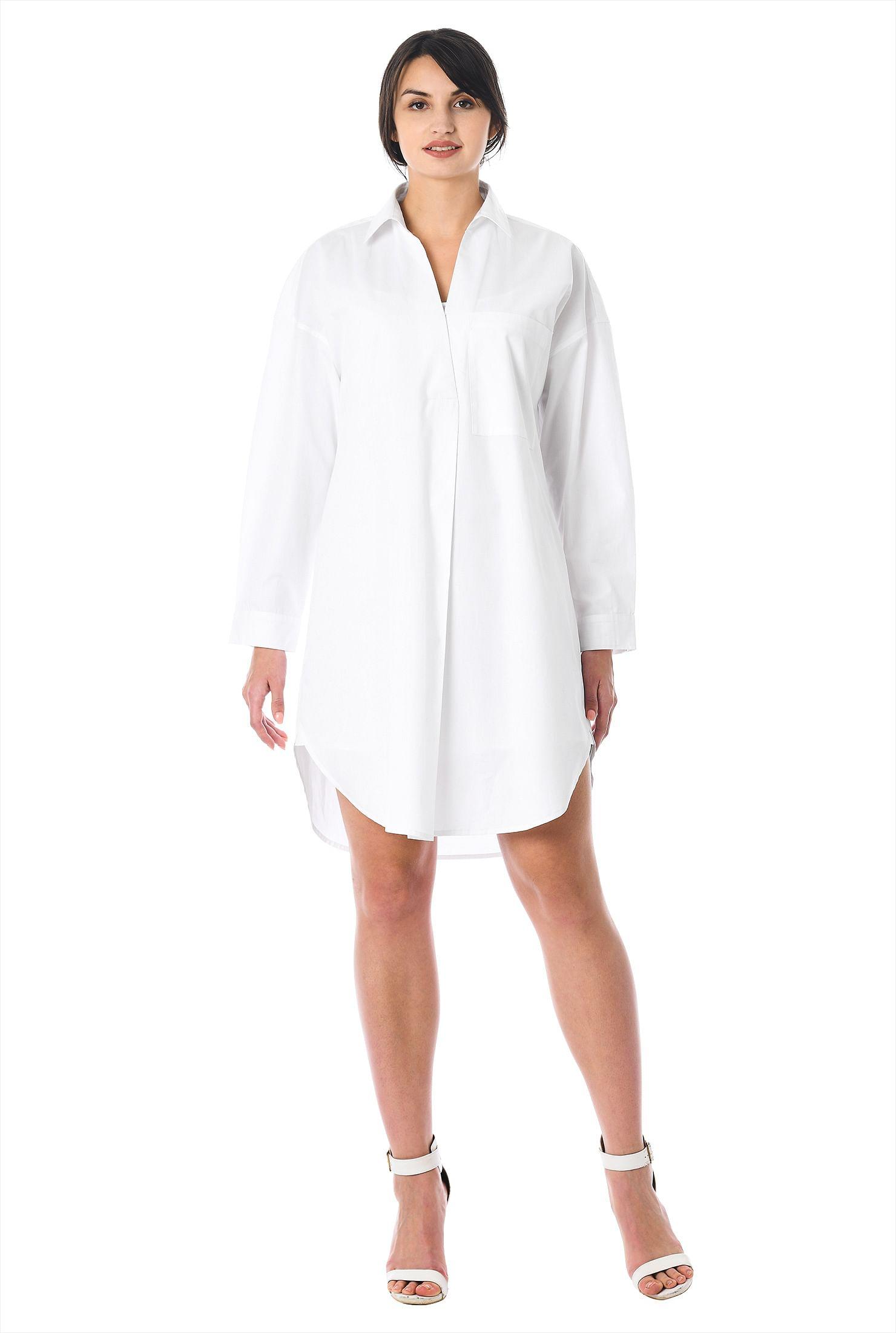 Cotton Poplin Relaxed Shirtdress by Eshakti