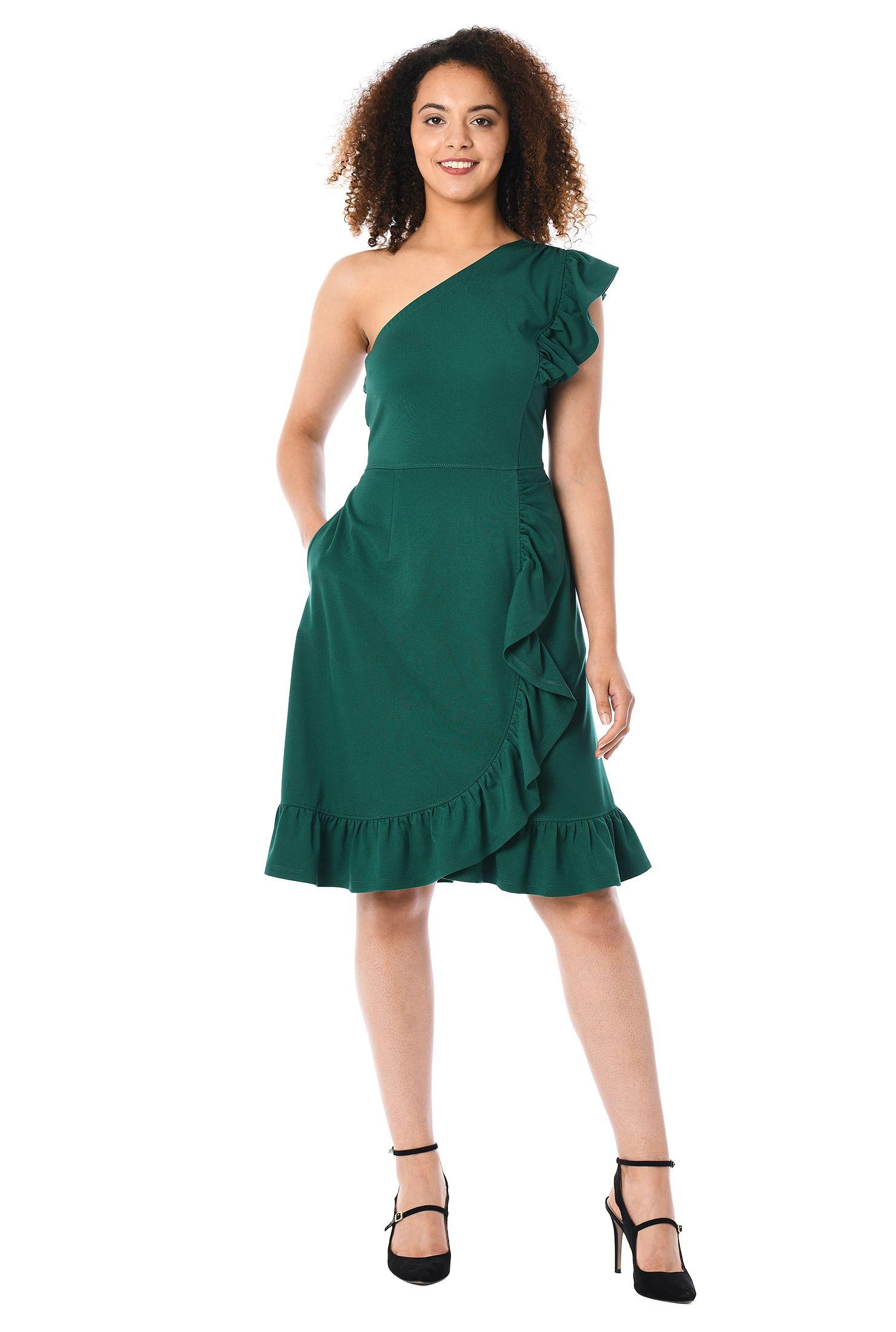 One-shoulder ruffle ponte knit dress