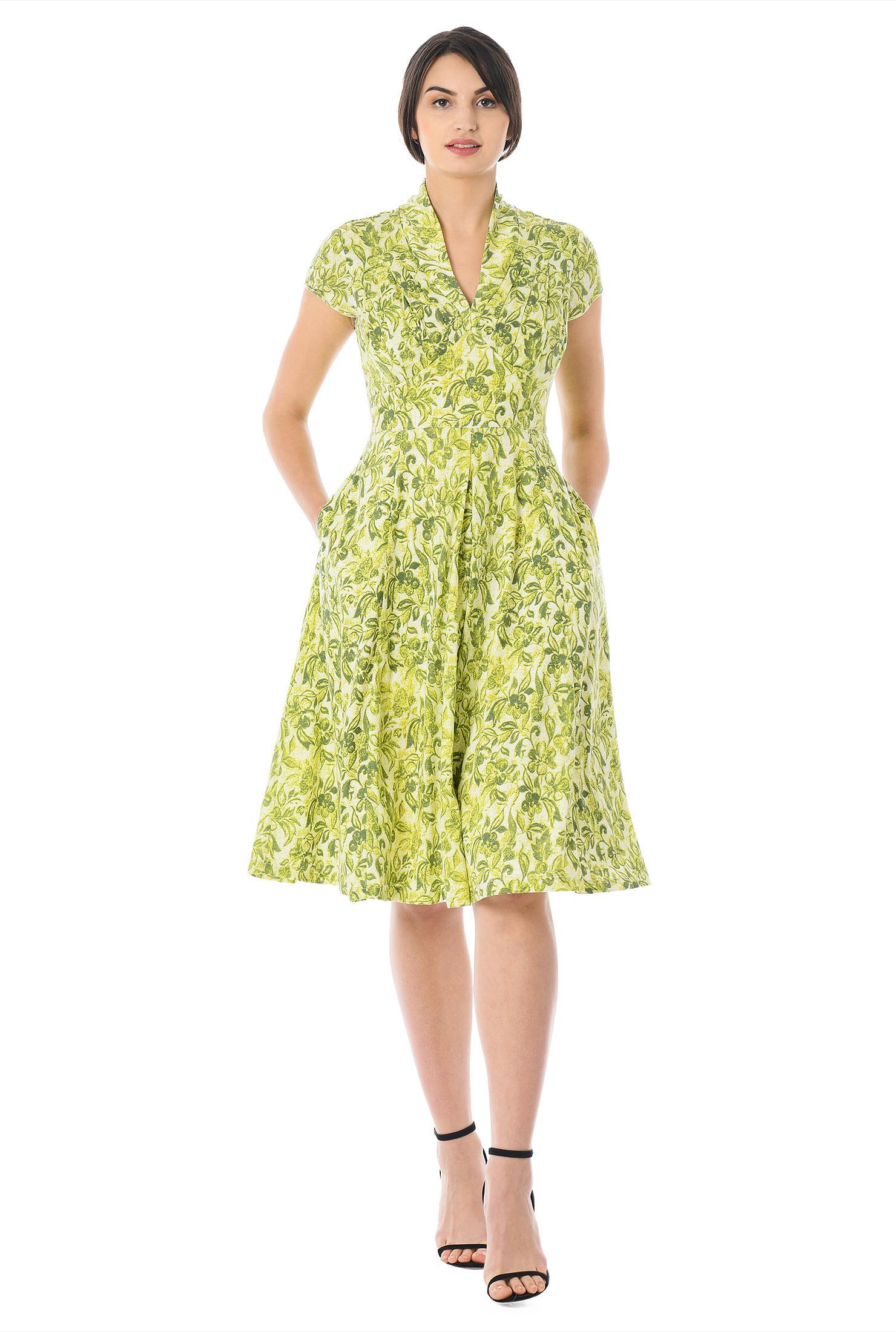 e1fa94614 below knee length dresses, cap sleeve dresses, cotton dresses, empire waist  dresses